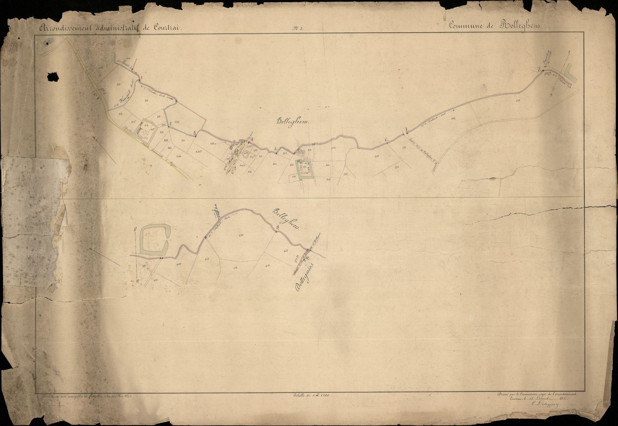 Kaarten van de onbevaarbare en onbevlotbare waterwegen van Rollegem, 1882