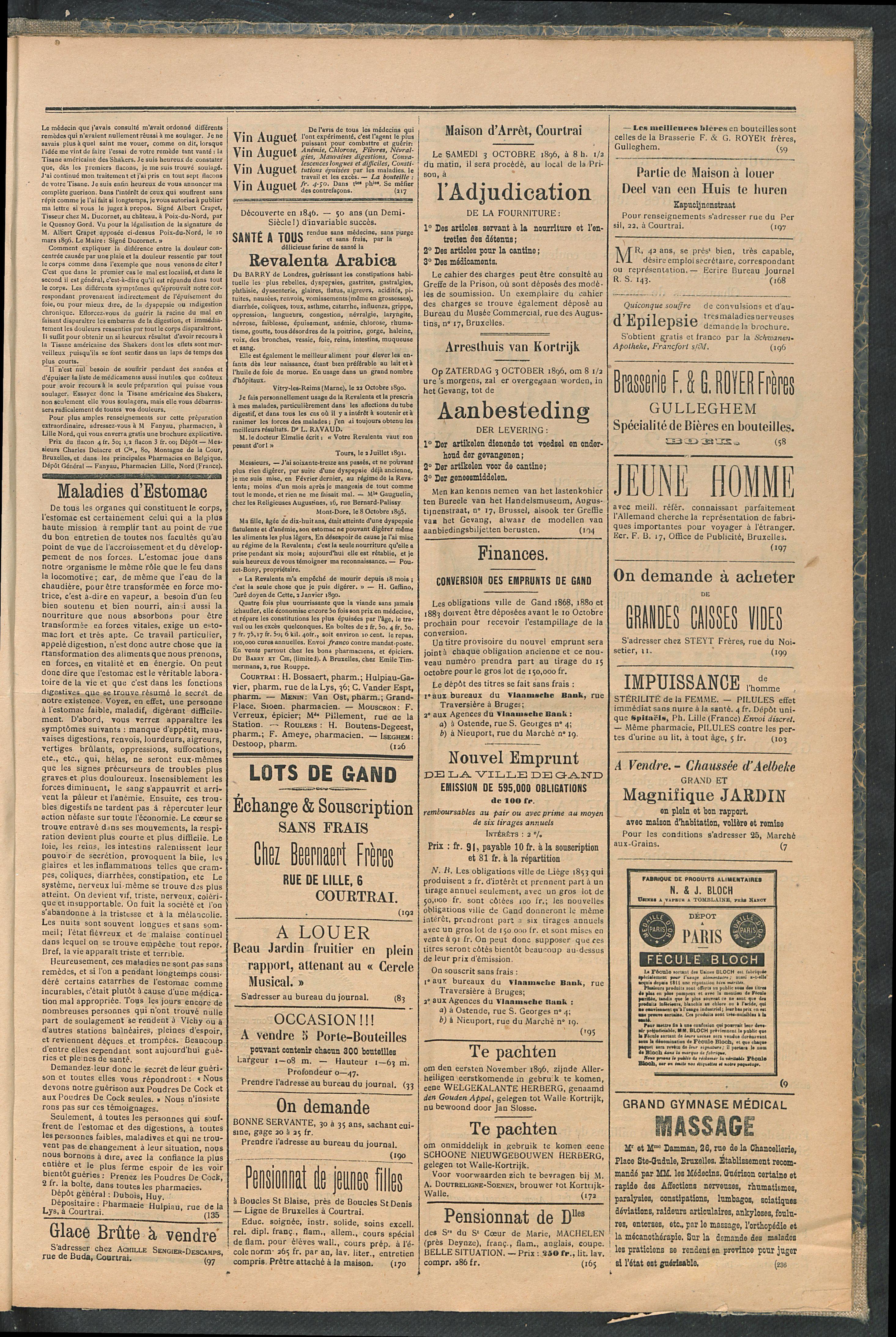 L'echo De Courtrai 1896-09-20 p3