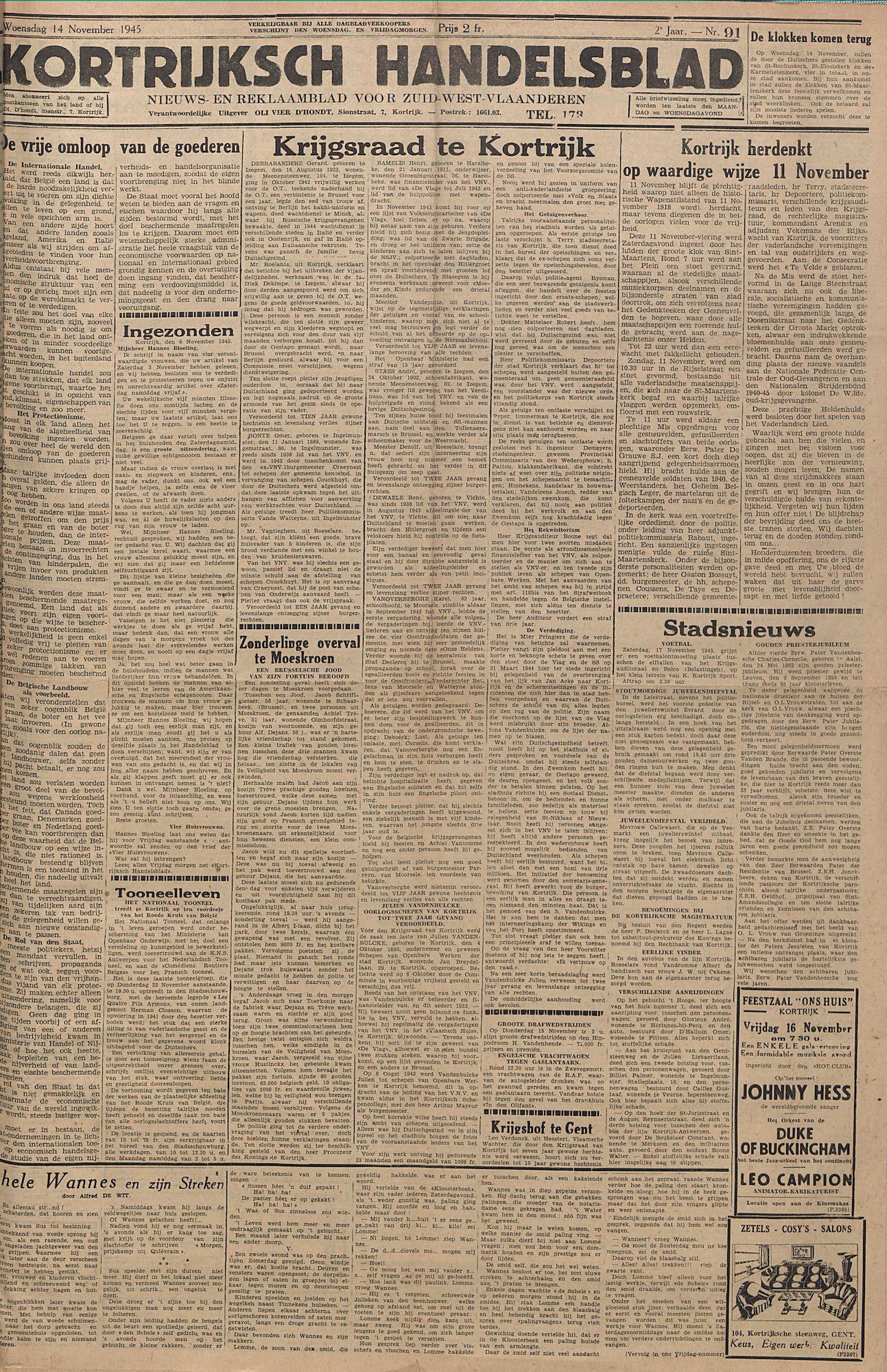 Kortrijksch Handelsblad 14 november 1945 Nr91 p1