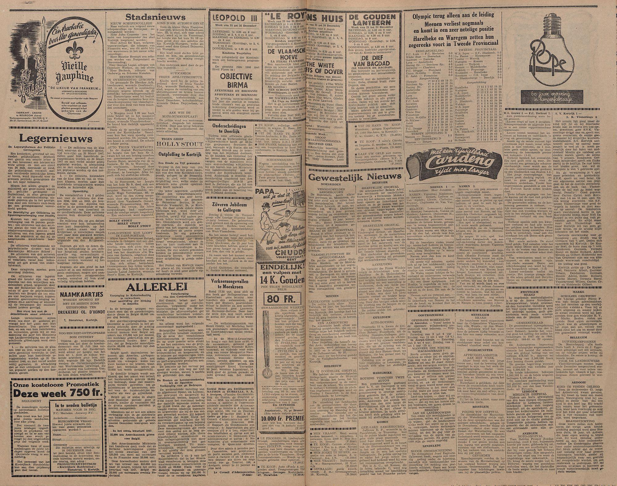 Kortrijksch Handelsblad  24 december 1946 Nr103 p2-3