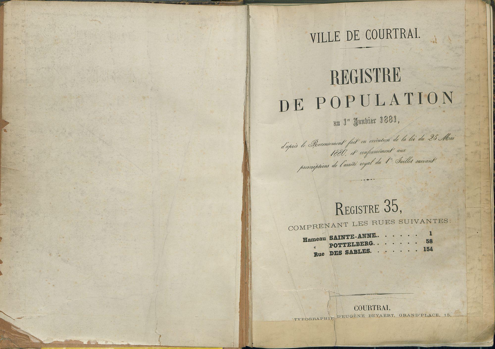 Bevolkingsregister Kortrijk 1880 boek 35