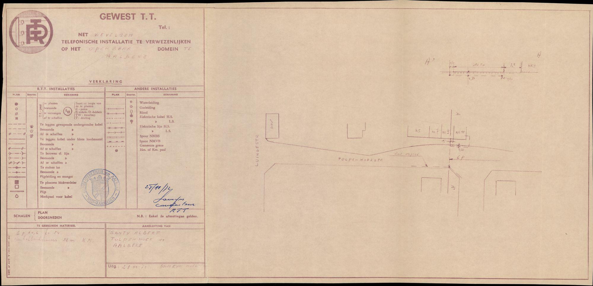 Plannen van de aanleg van het telefoonnet te Aalbeke, 1965-1974