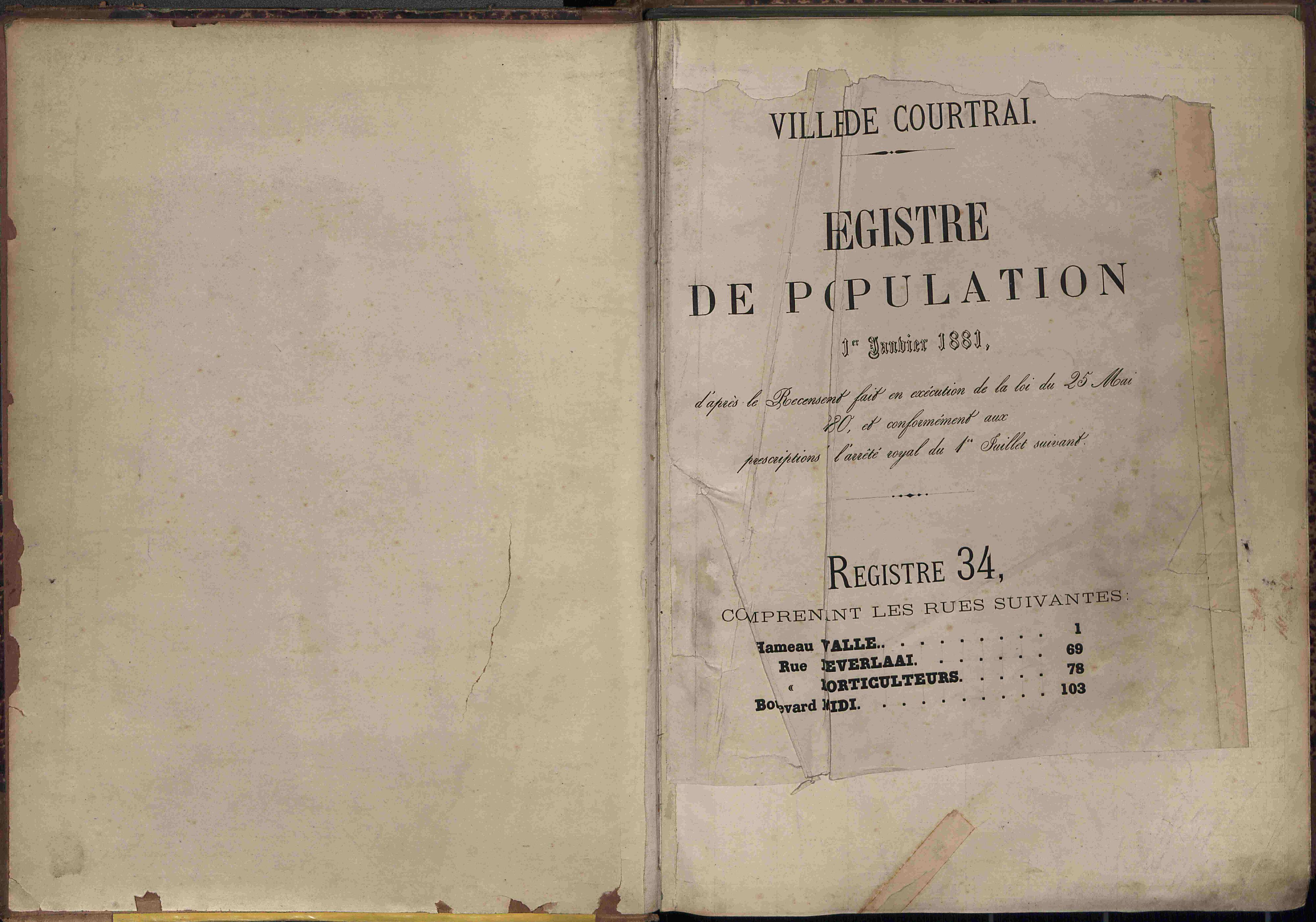 Bevolkingsregister Kortrijk 1880 boek 34
