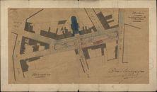 Plattegrond van het President Rooseveltplein en aanpalende straten, 1884