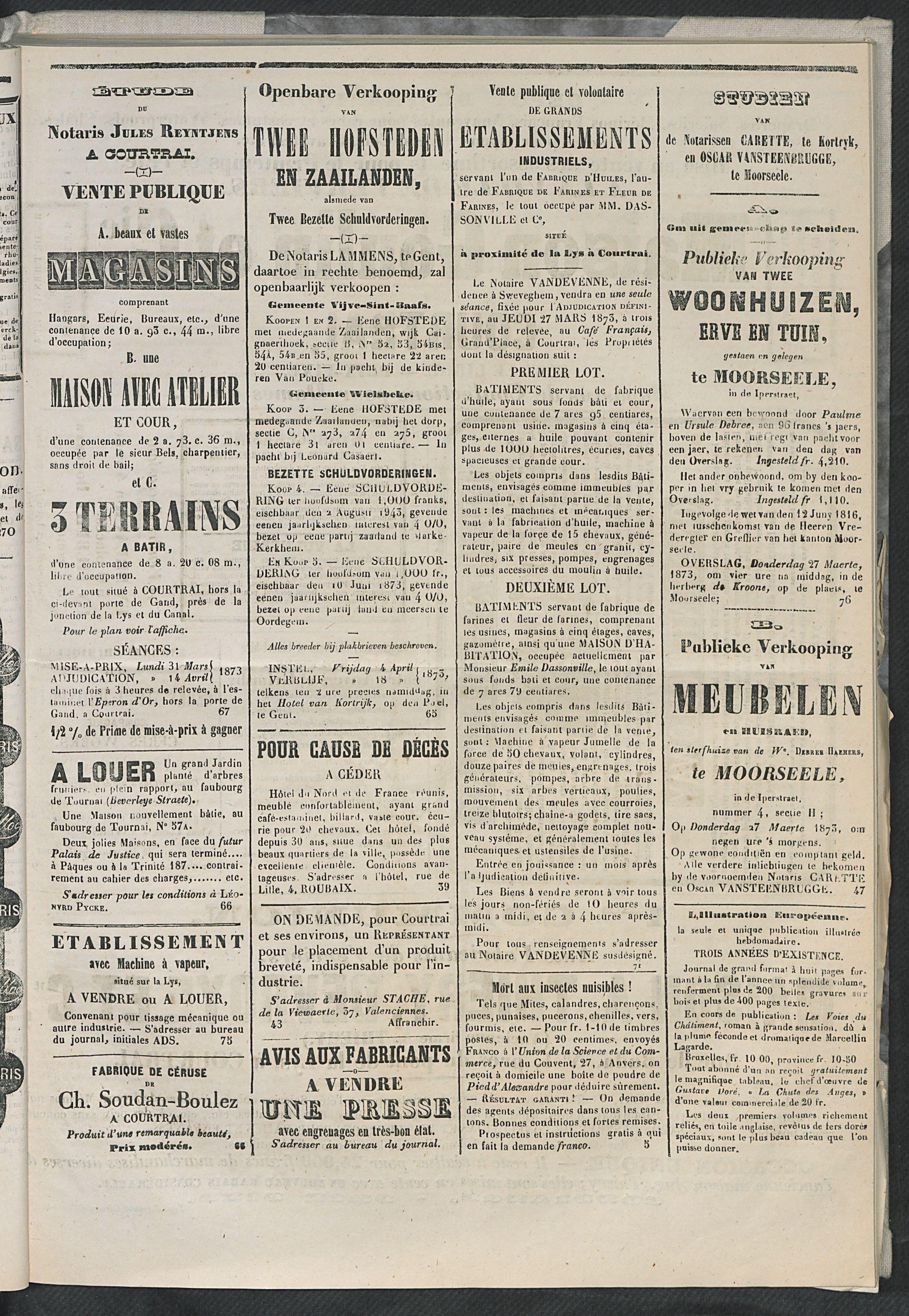 L'echo De Courtrai 1873-03-23 p5