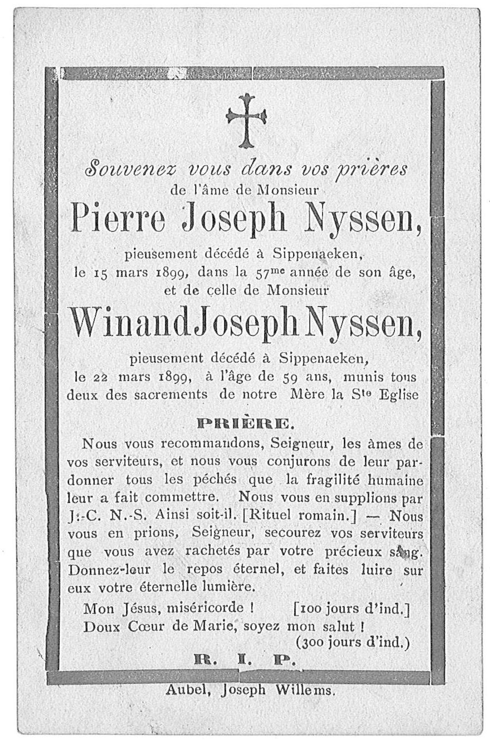 Pierre Joseph en Winand Joseph Nyssen