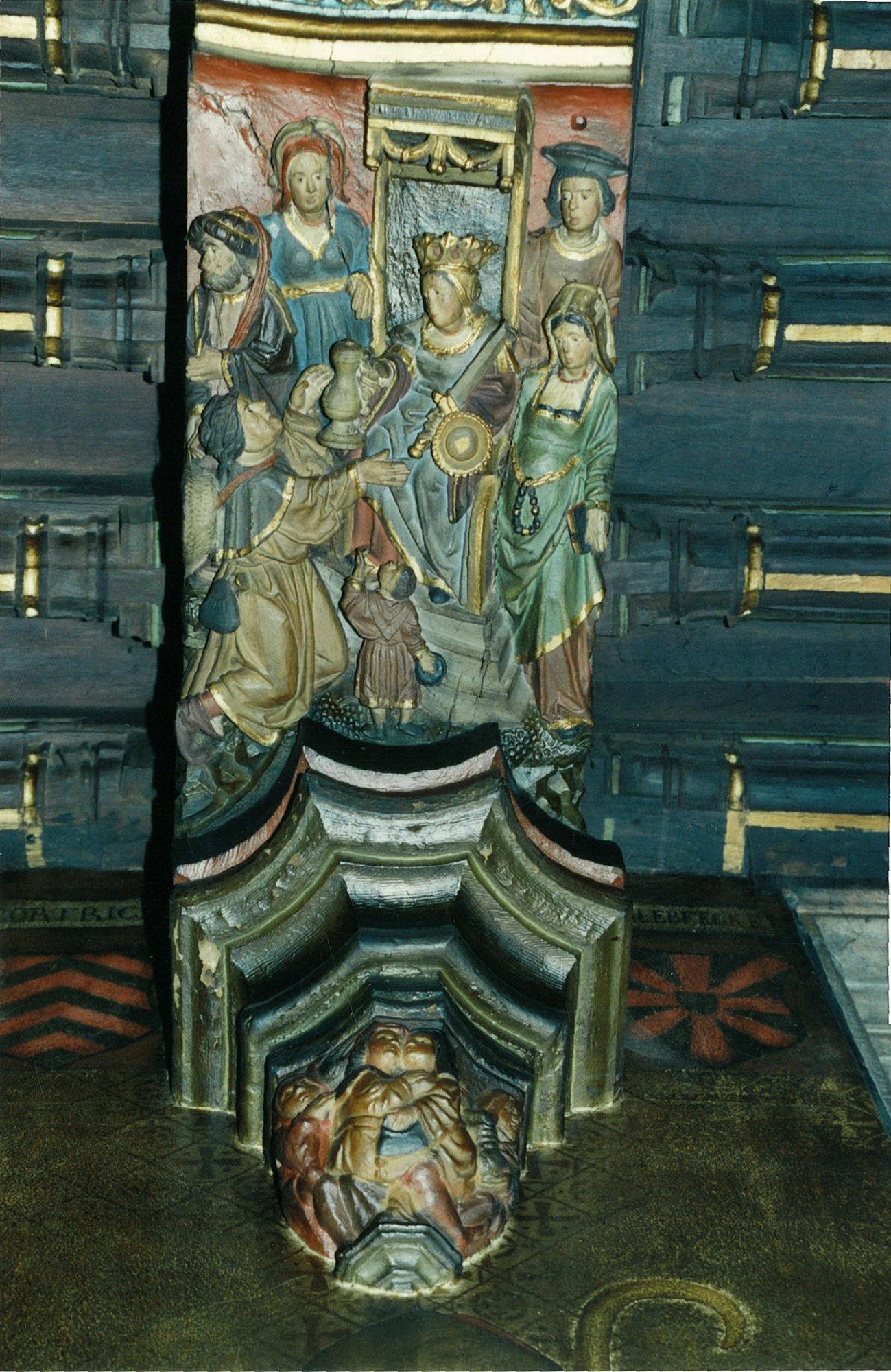 Een gepolychromeerde balkzool in de schepenzaal van het stadhuis te Kortrijk