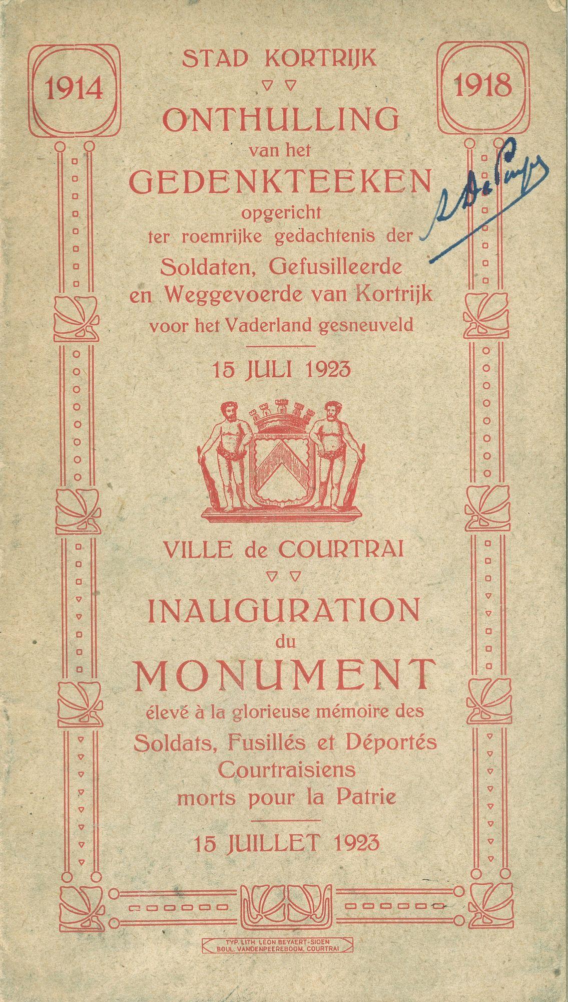 Onthulling gedenkteken in 1923