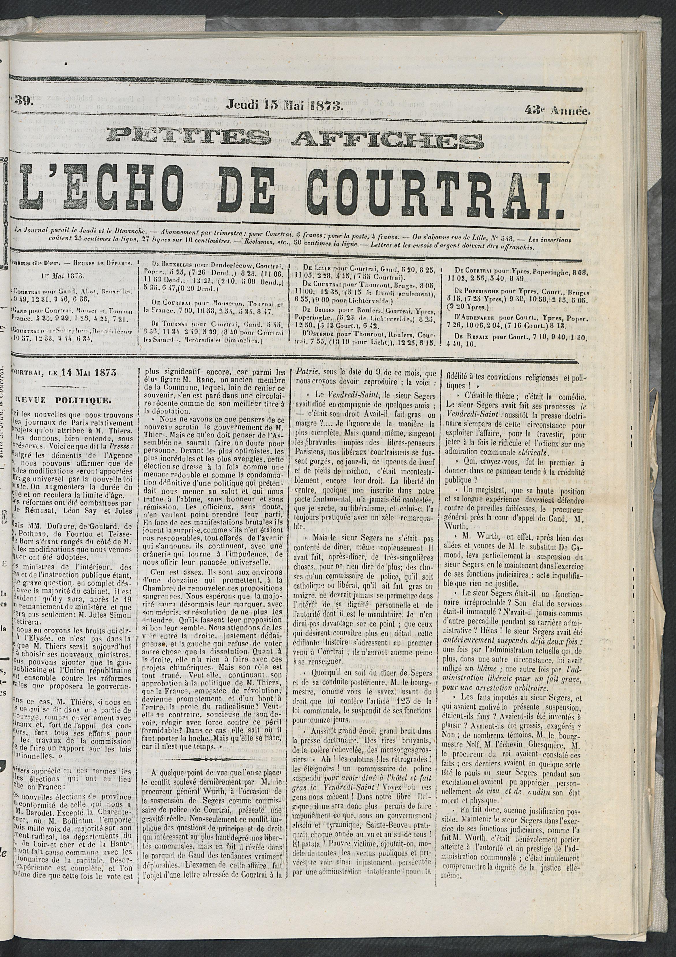 L'echo De Courtrai 1873-05-15 p1