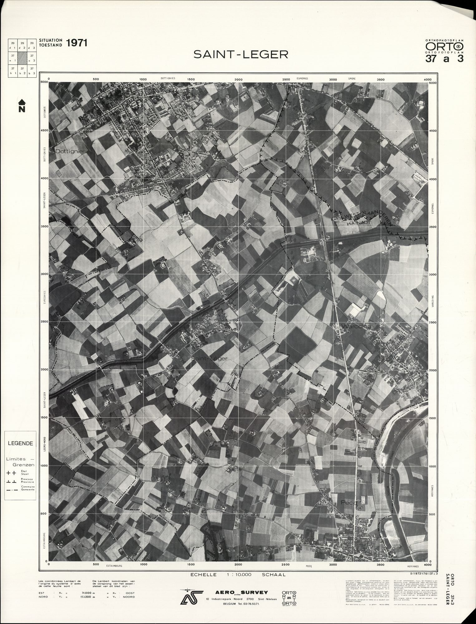 Luchtfoto's van het zuiden van West- en Oost-Vlaanderen, 1971