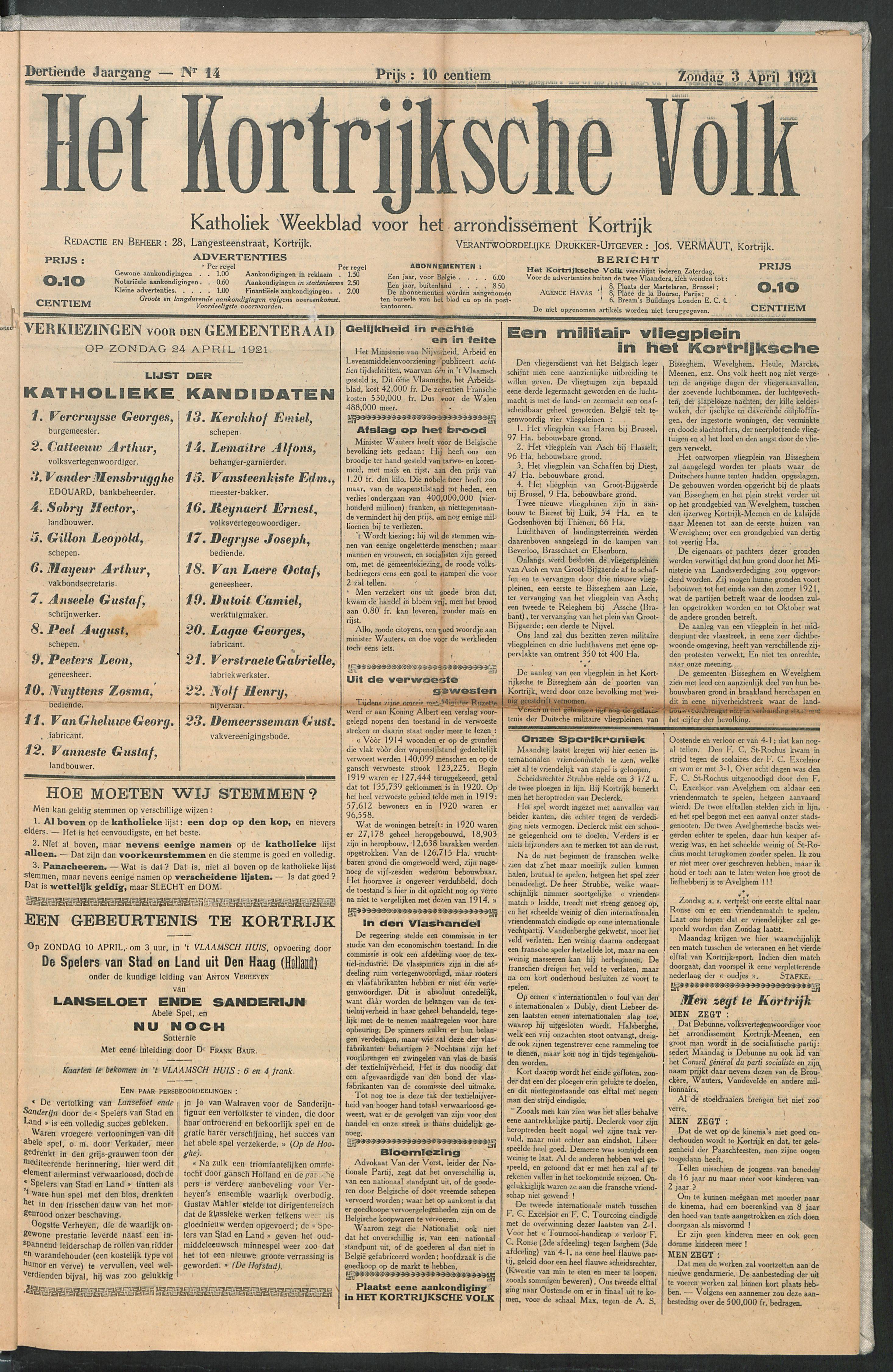 Het Kortrijksche Volk 1921-04-03 p1