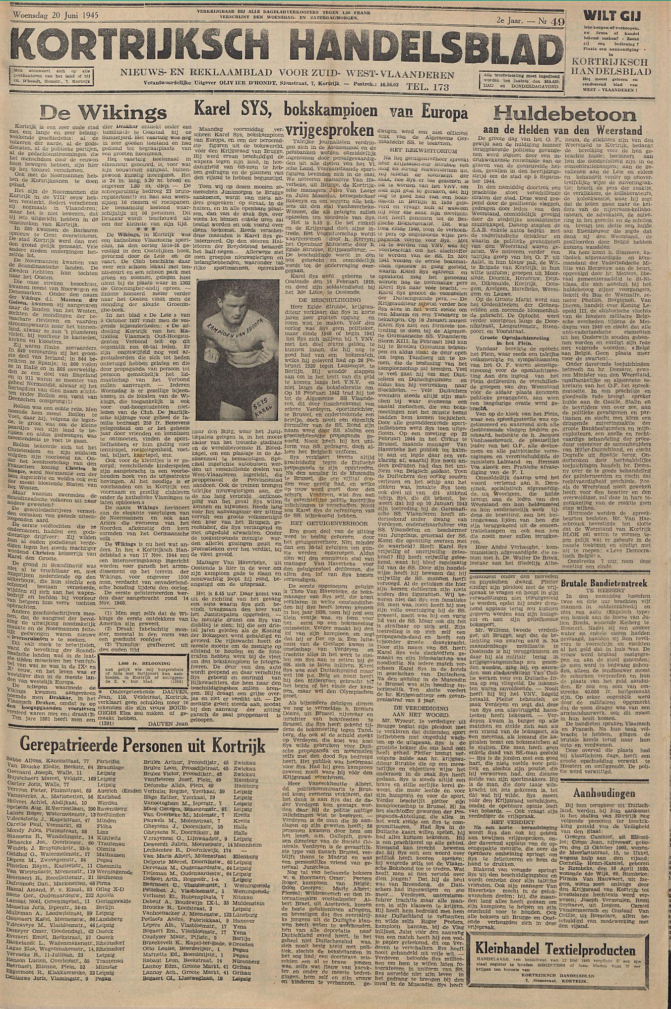 Kortrijksch Handelsblad 20 juni 1945 Nr49 p1