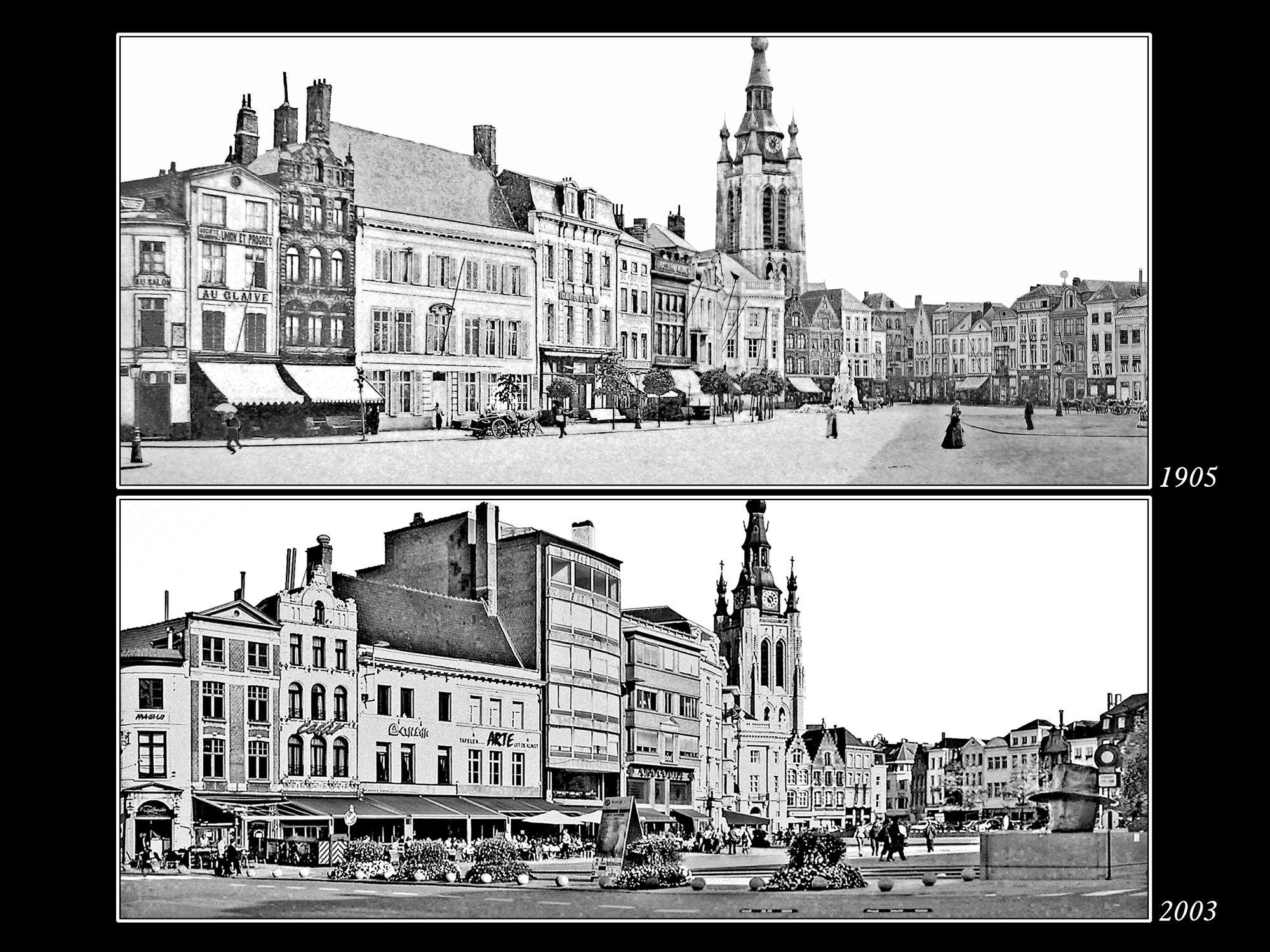 De Grote Markt in 1905 en 2004