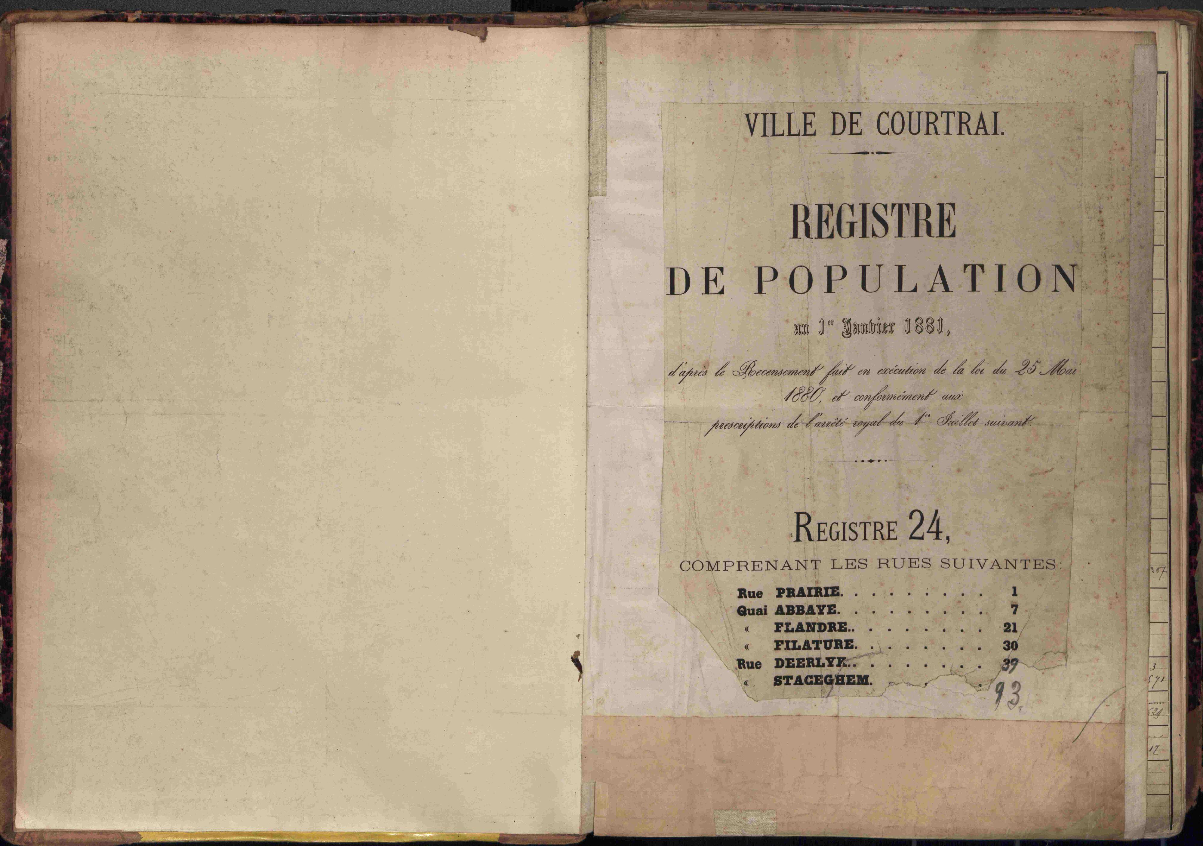 Bevolkingsregister Kortrijk 1880 boek 24