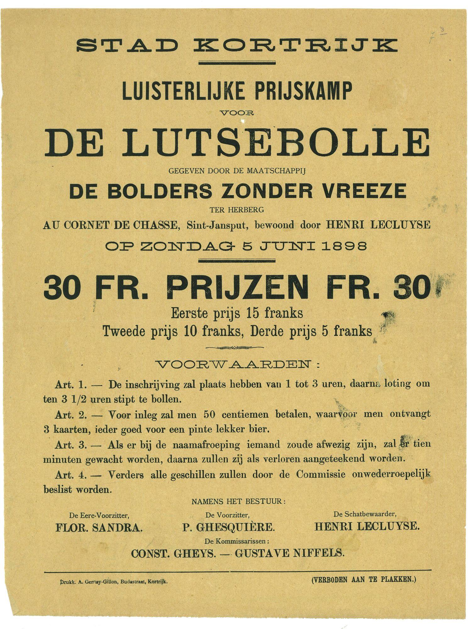 Prijskamp lutsebolle in 1898