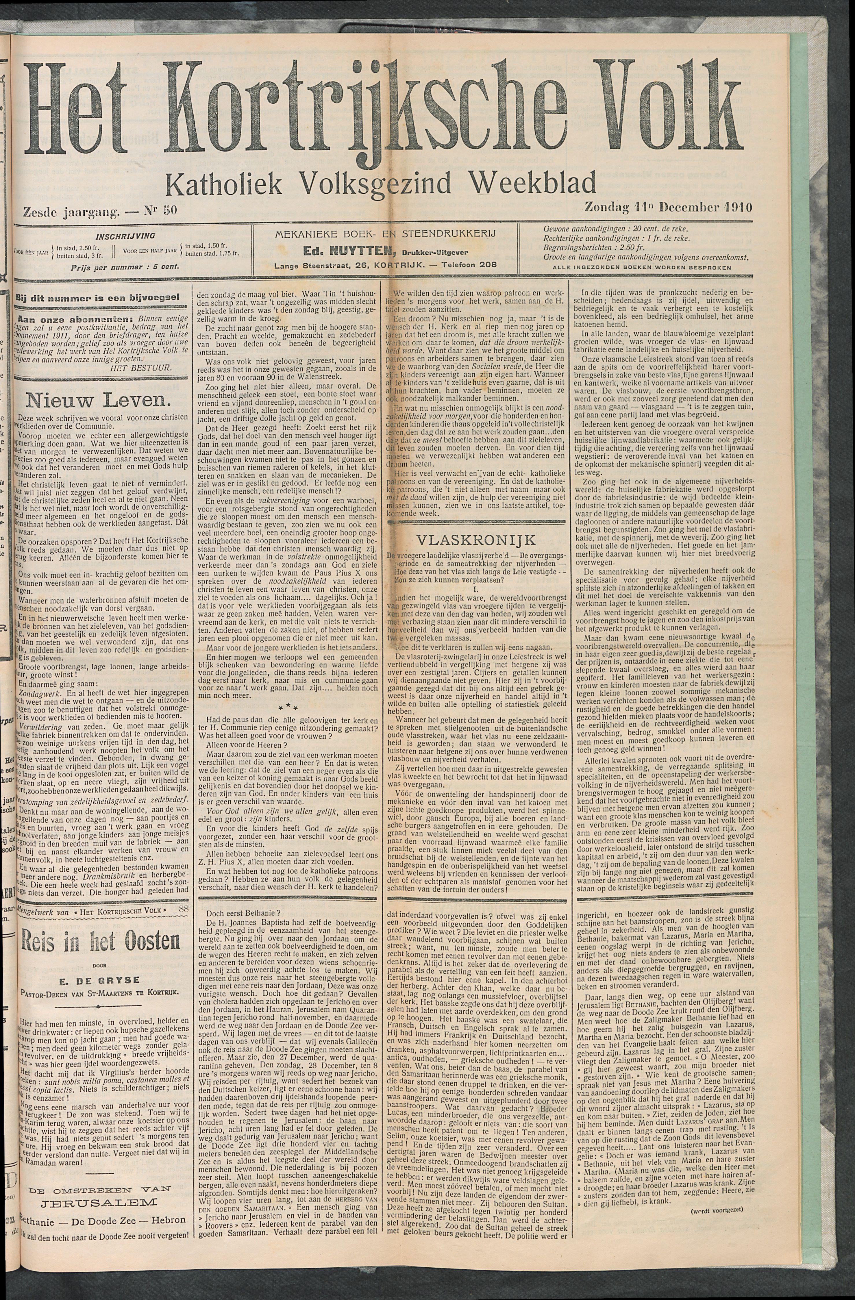 Het Kortrijksche Volk 1910-12-11 p1