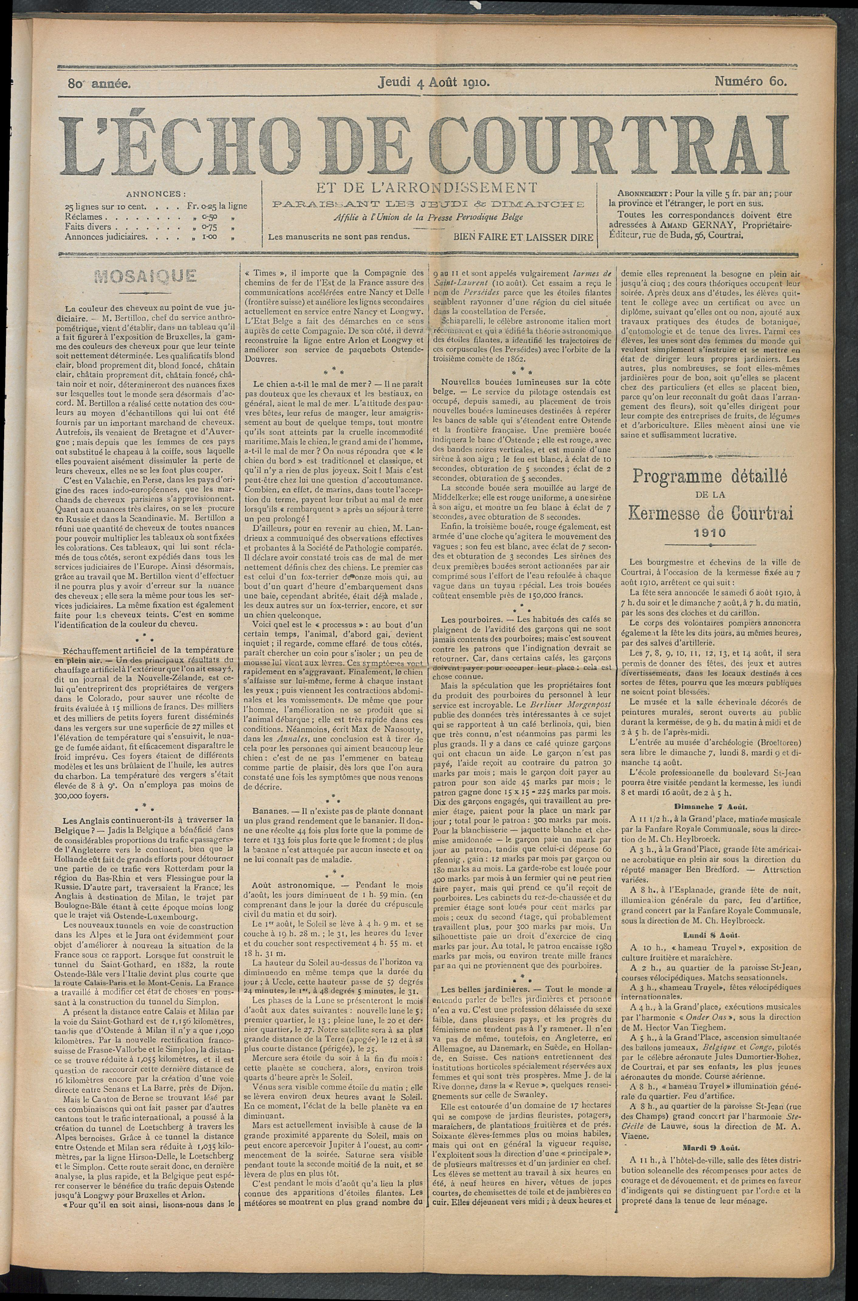 L'echo De Courtrai 1910-08-04 p1