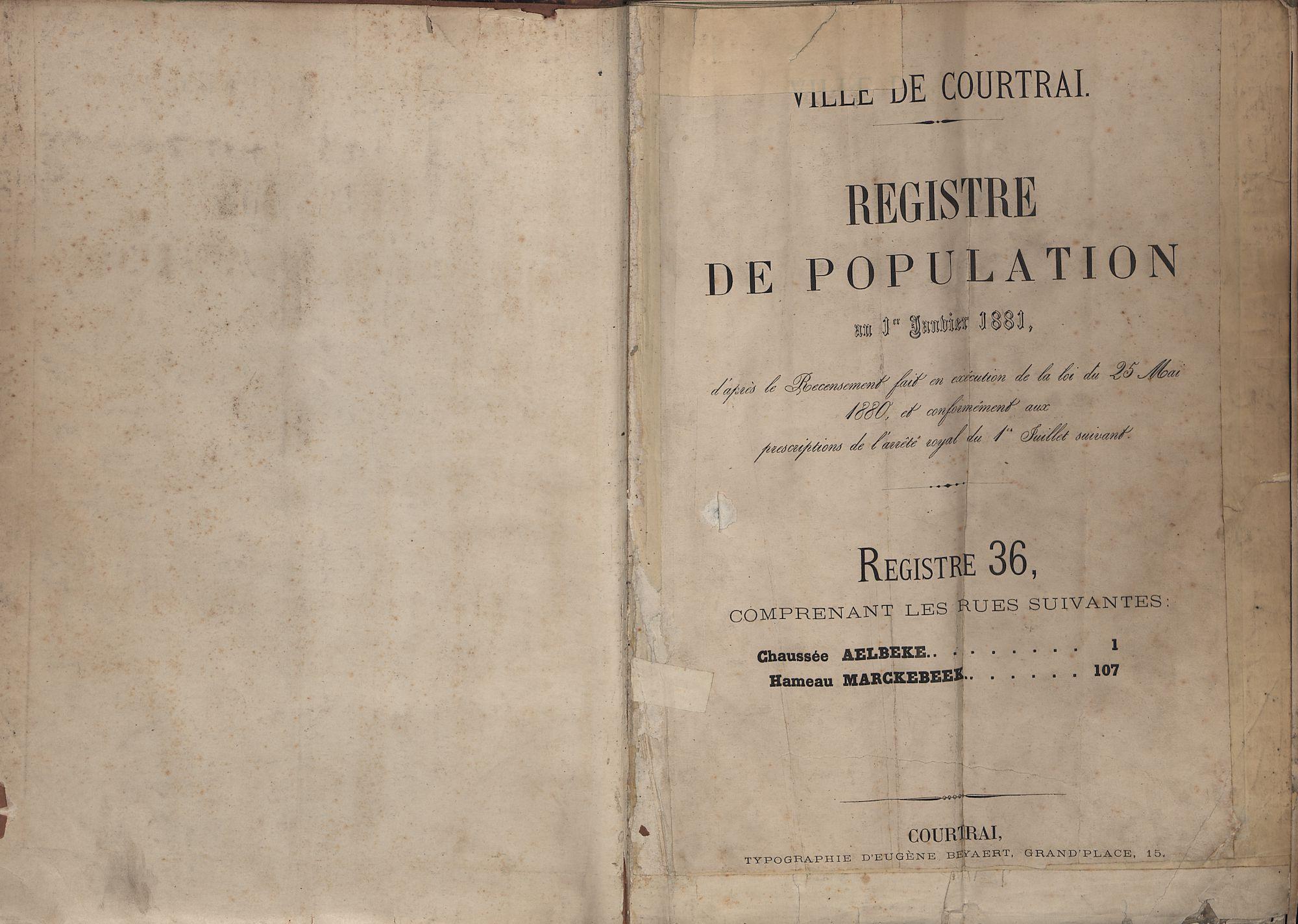 Bevolkingsregister Kortrijk 1880 boek 36