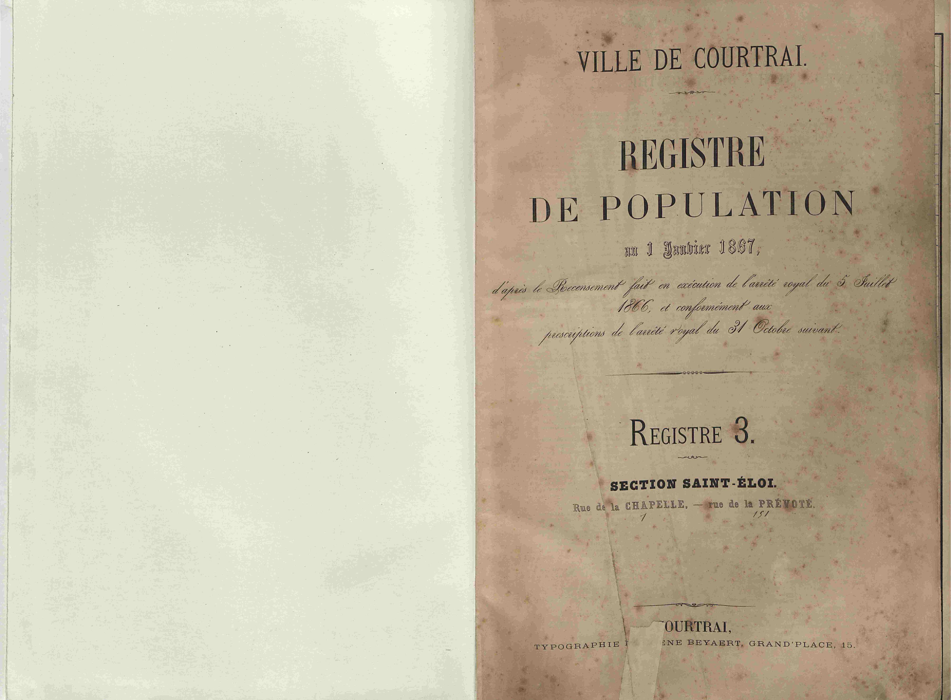 Bevolkingsregister Kortrijk 1866 boek 3