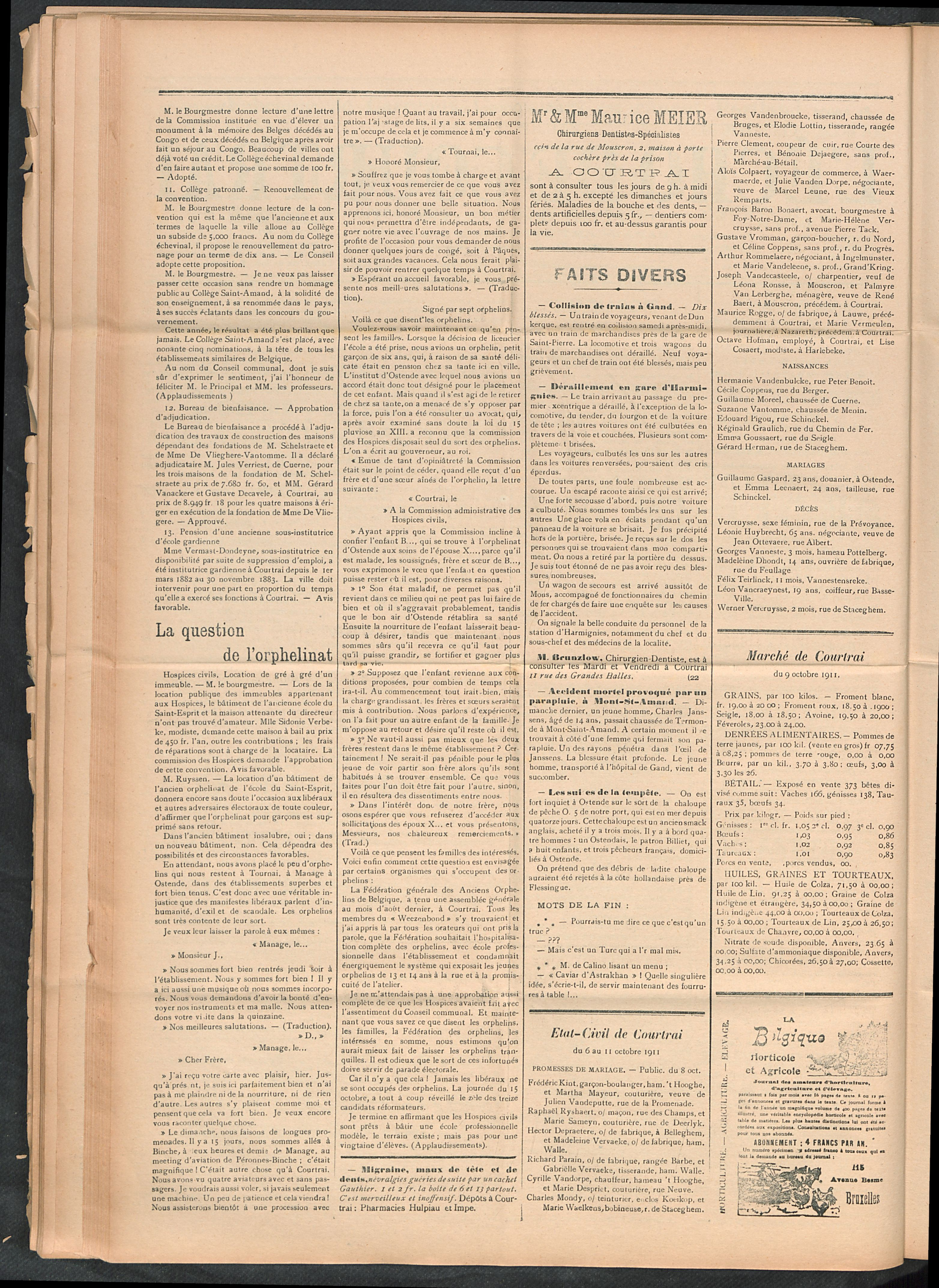 L'echo De Courtrai 1911-10-12 p2
