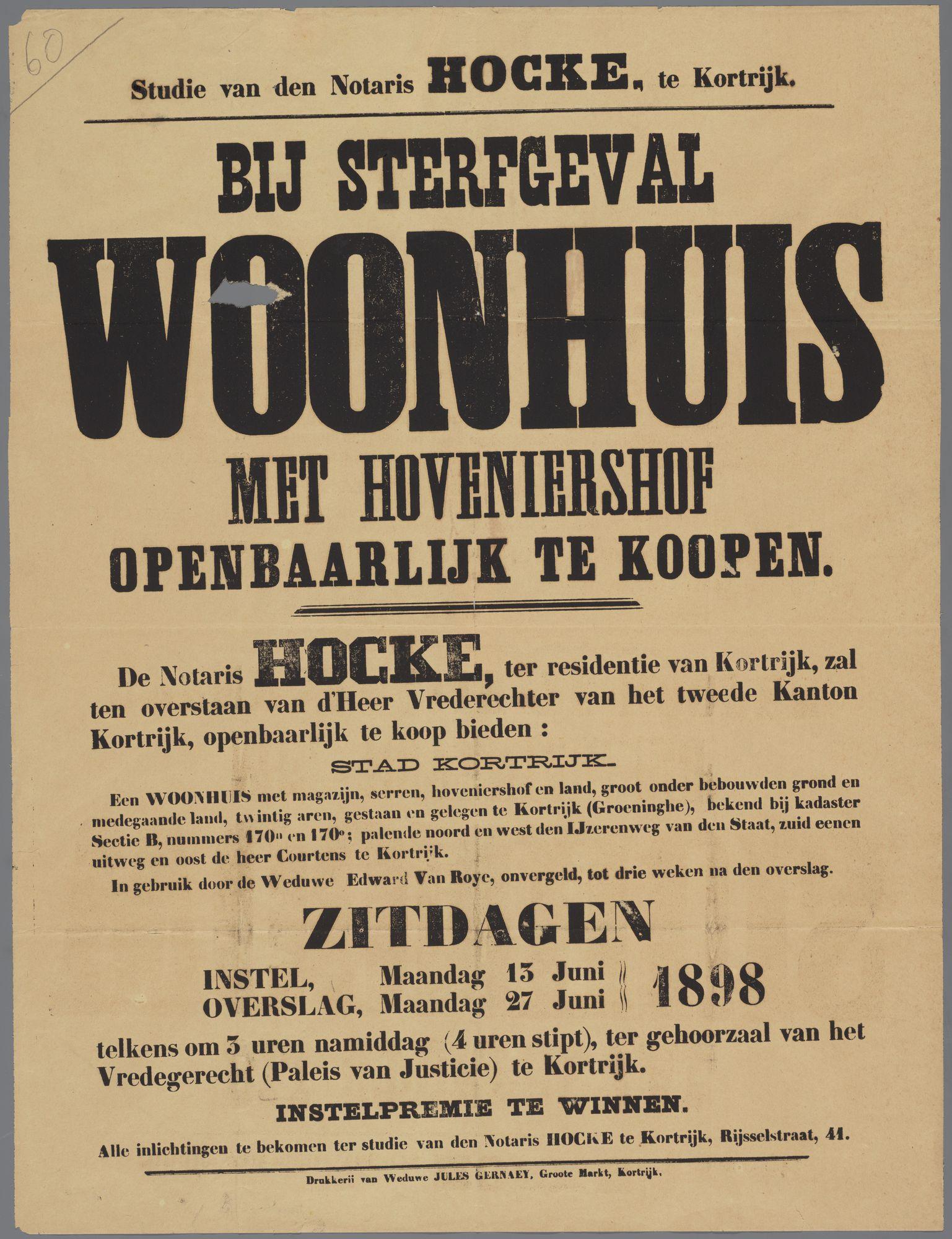 Verkoop woonhuis te Kortrijk 1898