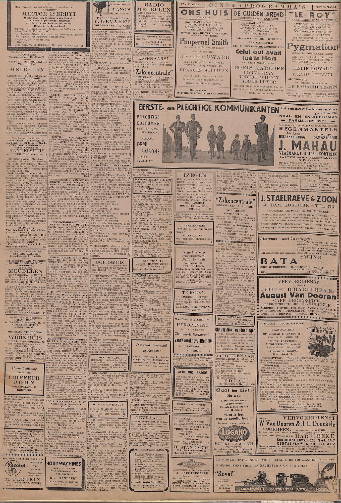Kortrijksch Handelsblad 10 maart 1945 Nr20 p2