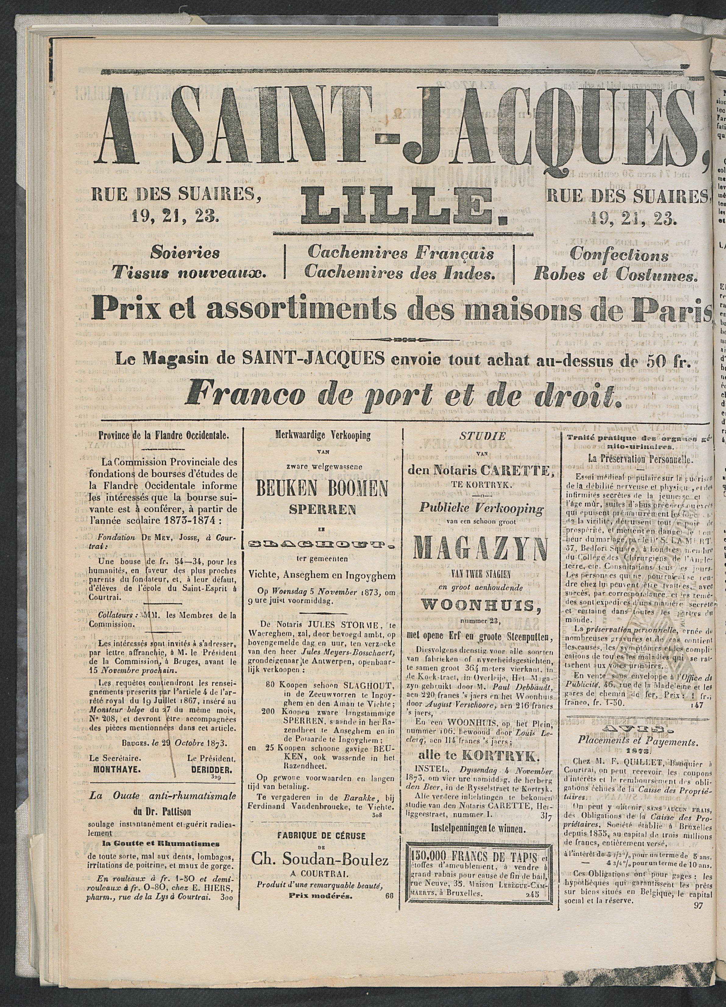 L'echo De Courtrai 1873-11-01 p4