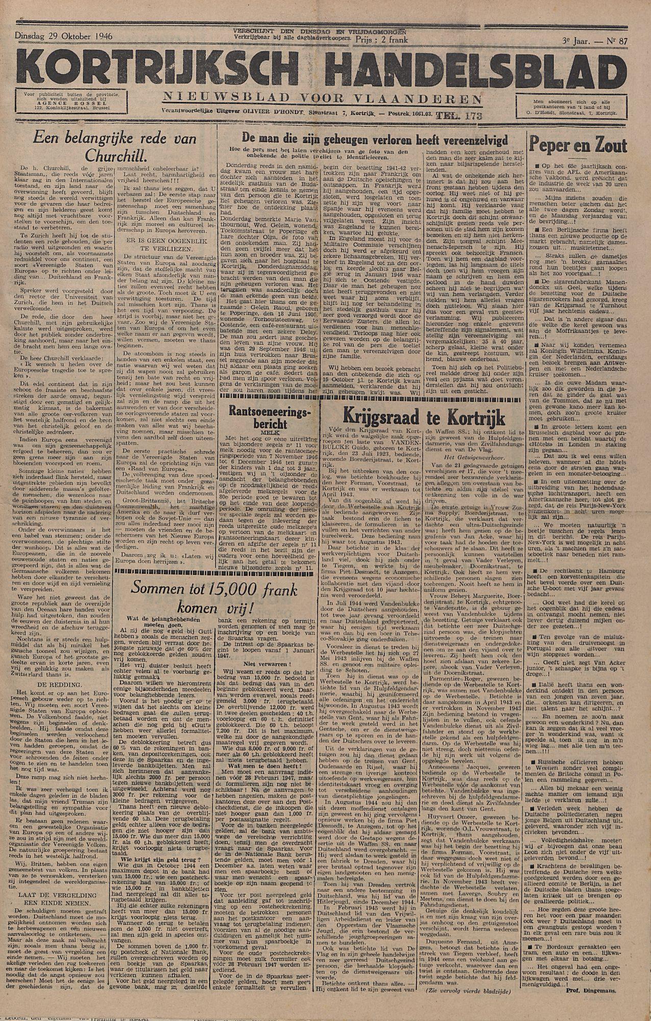 Kortrijksch Handelsblad 29 oktober 1946 Nr87 p1