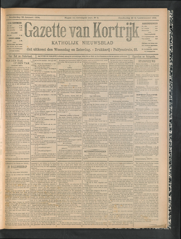 Gazette Van Kortrijk 1904-01-28 p1