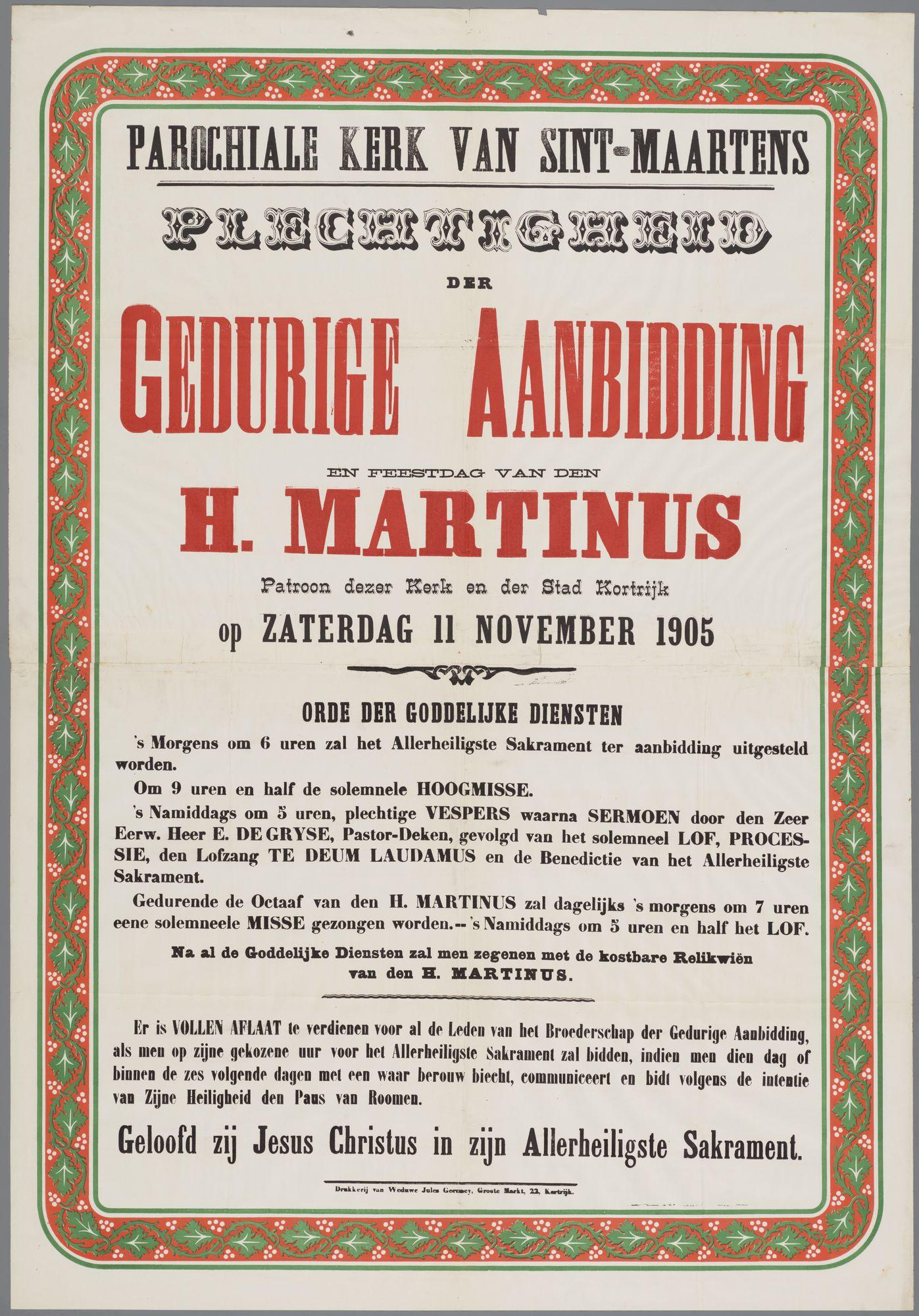 Plechtigheden Sint Maartenskerk 1905