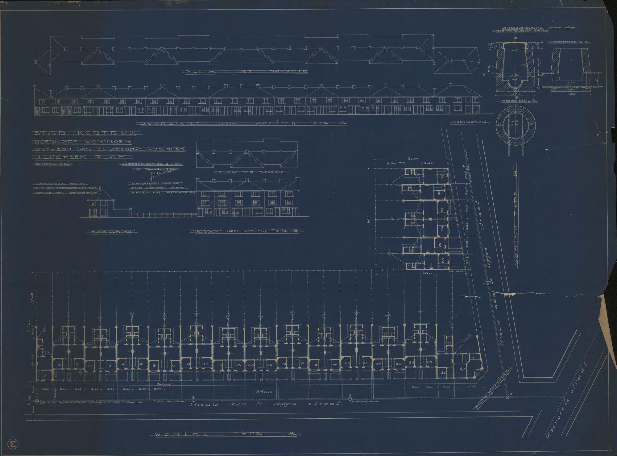 Bouwplannen voor het bouwen van goedkope woningen door de maatschappij van goedkope woningen te Kortrijk, 1929