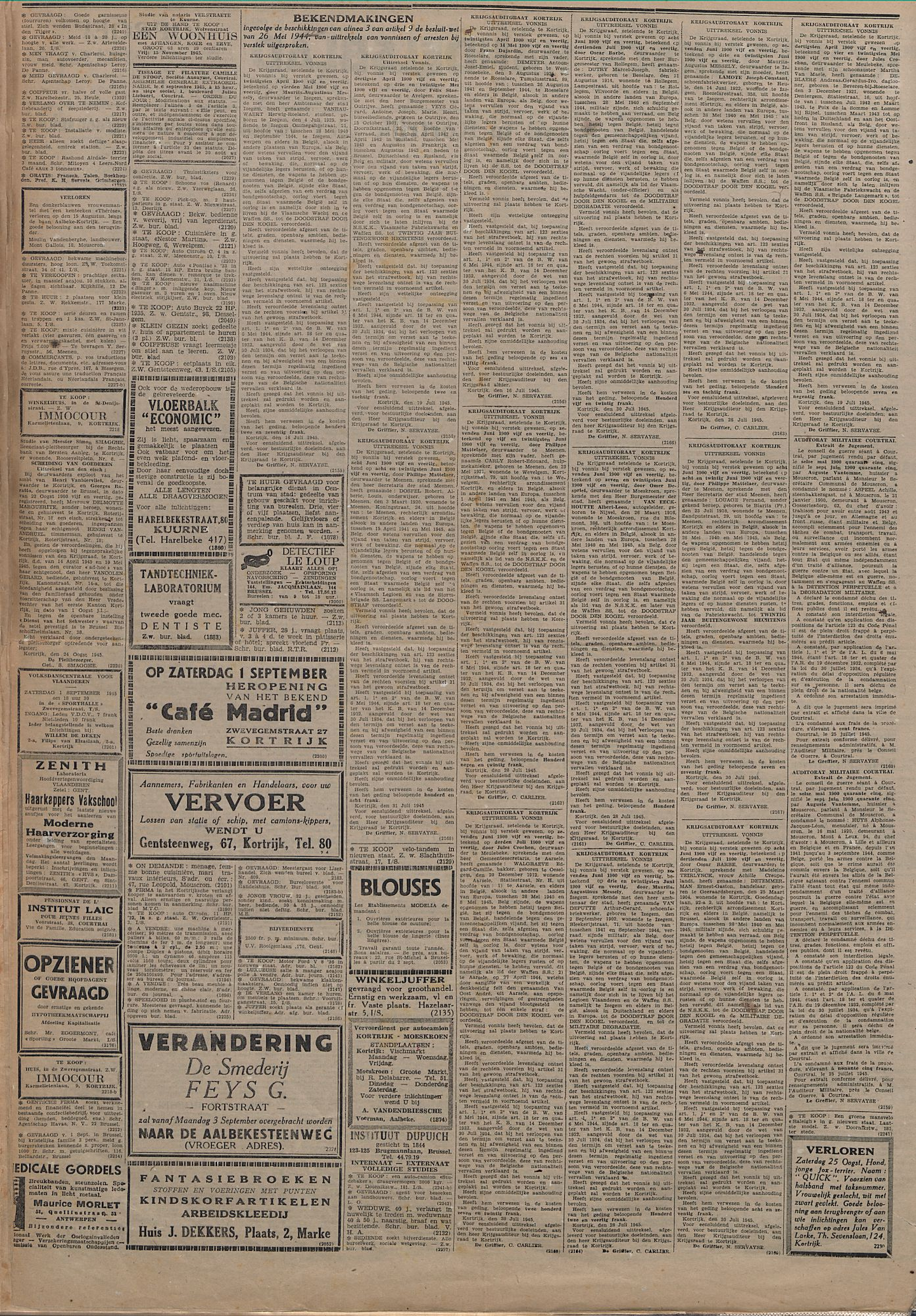 Kortrijksch Handelsblad 29 augustus 1945 Nr69 p2