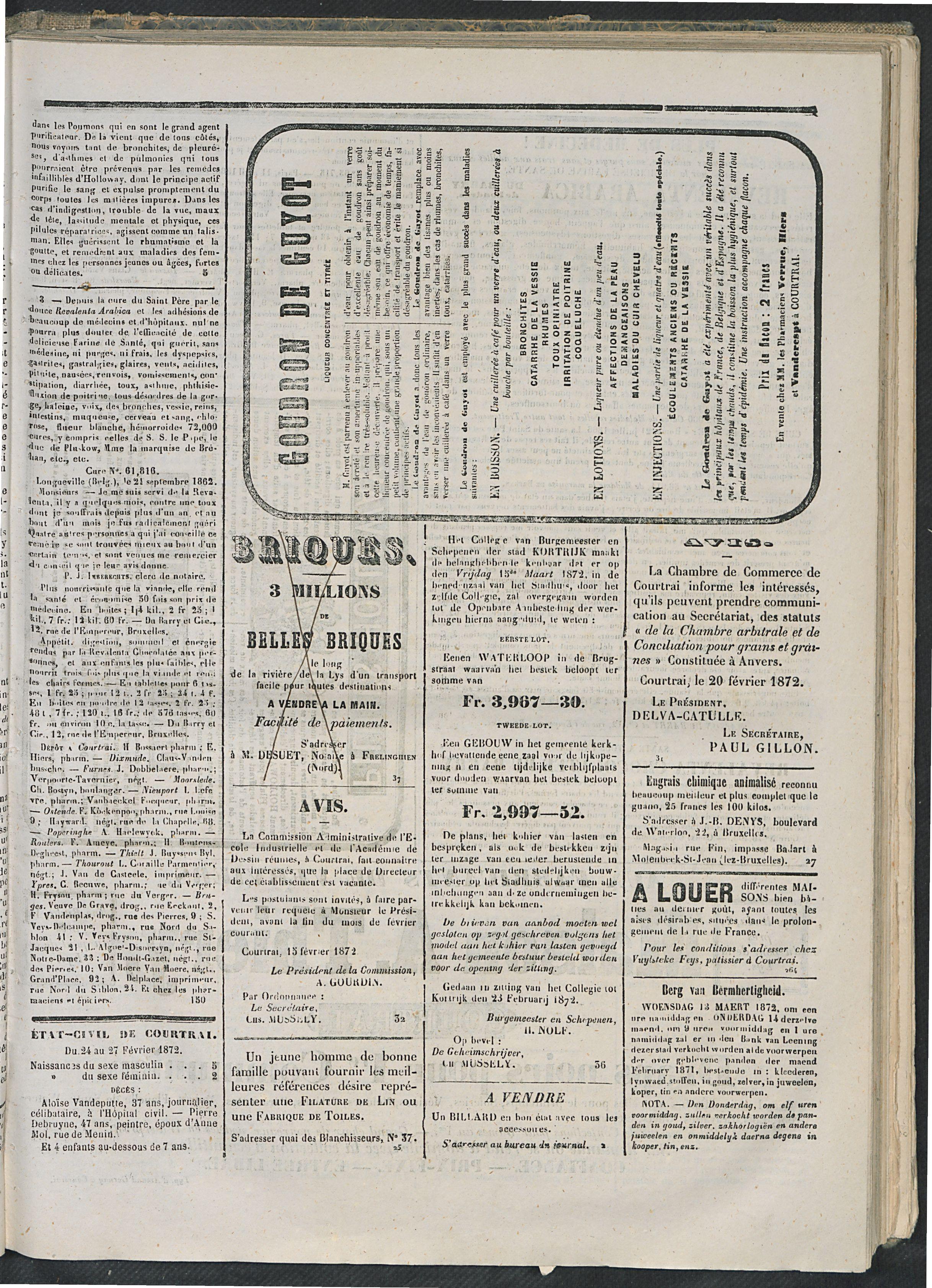 L'echo De Courtrai 1872-02-28 p3