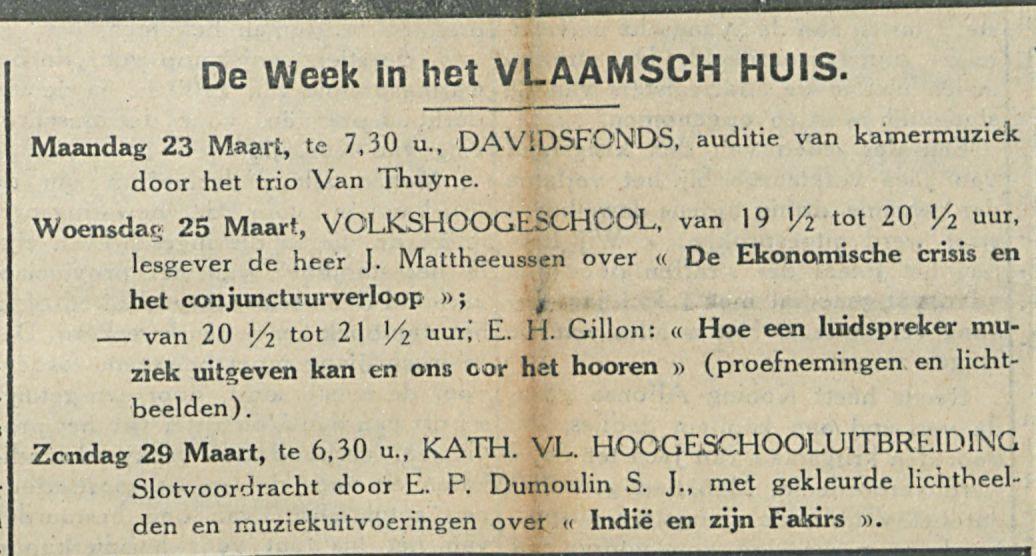 De Week in het VLAAMSCH HUIS
