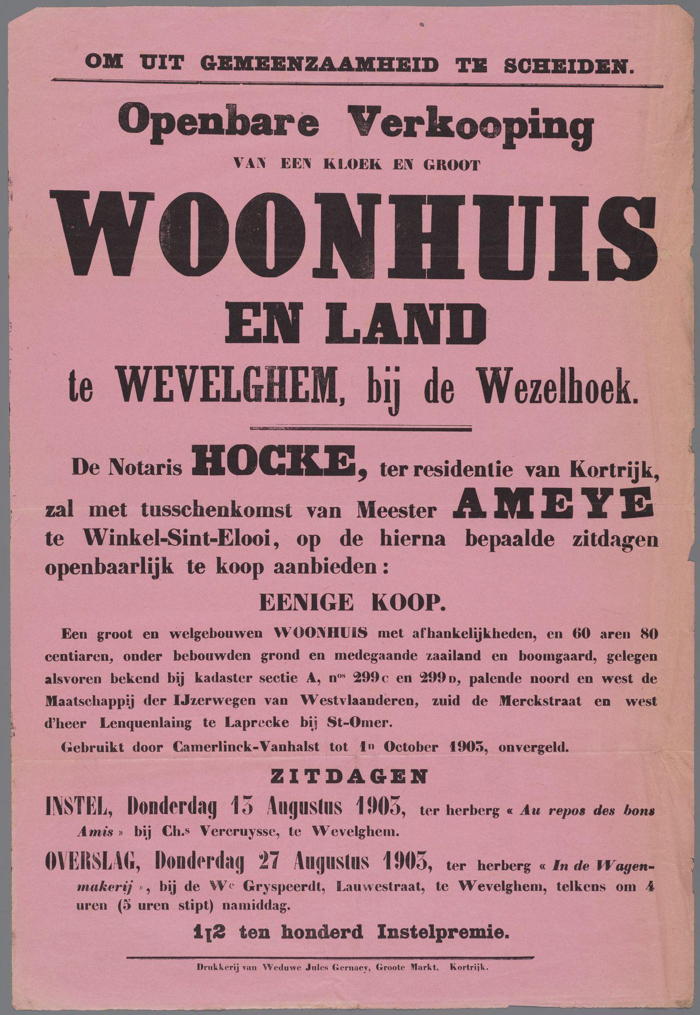 Verkoop woonhuis en land te Wevelgem 1903