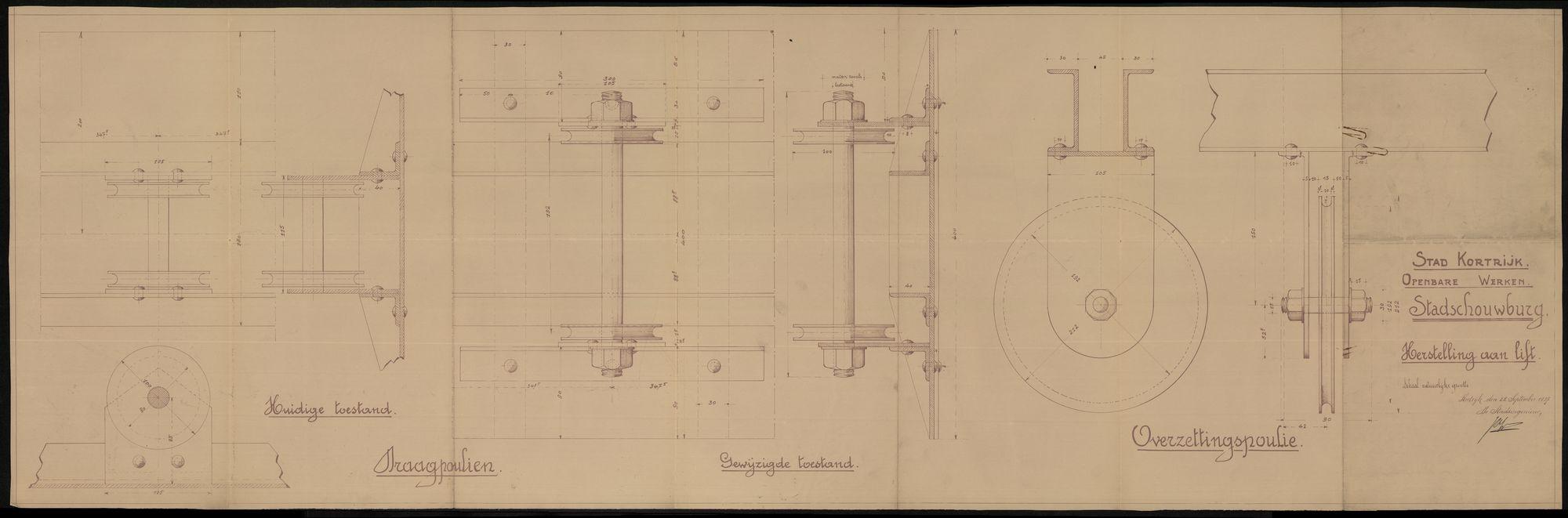 Bouwplan van de herstelling van de lift van de stadsschouwburg te Kortrijk, 1937.