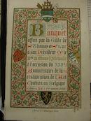 Menukaart banket voor Baron Jean Baptiste Bethune 1879