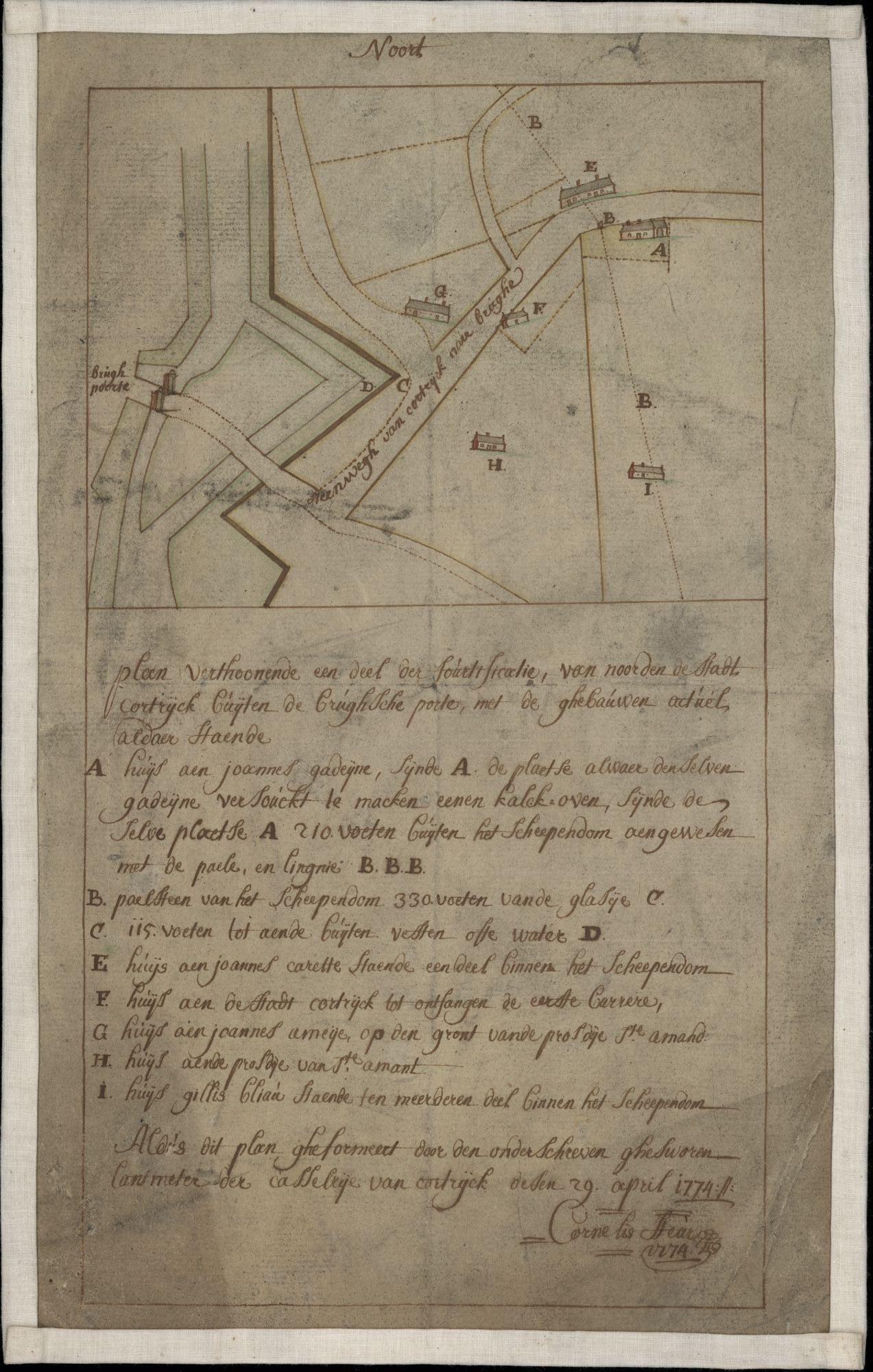Figuratieve kaart met plattegrond van de Brugsepoort met aanpalende grachten en straten te Kortrijk-buiten, opgemaakt door J.B. Casaer, 1810