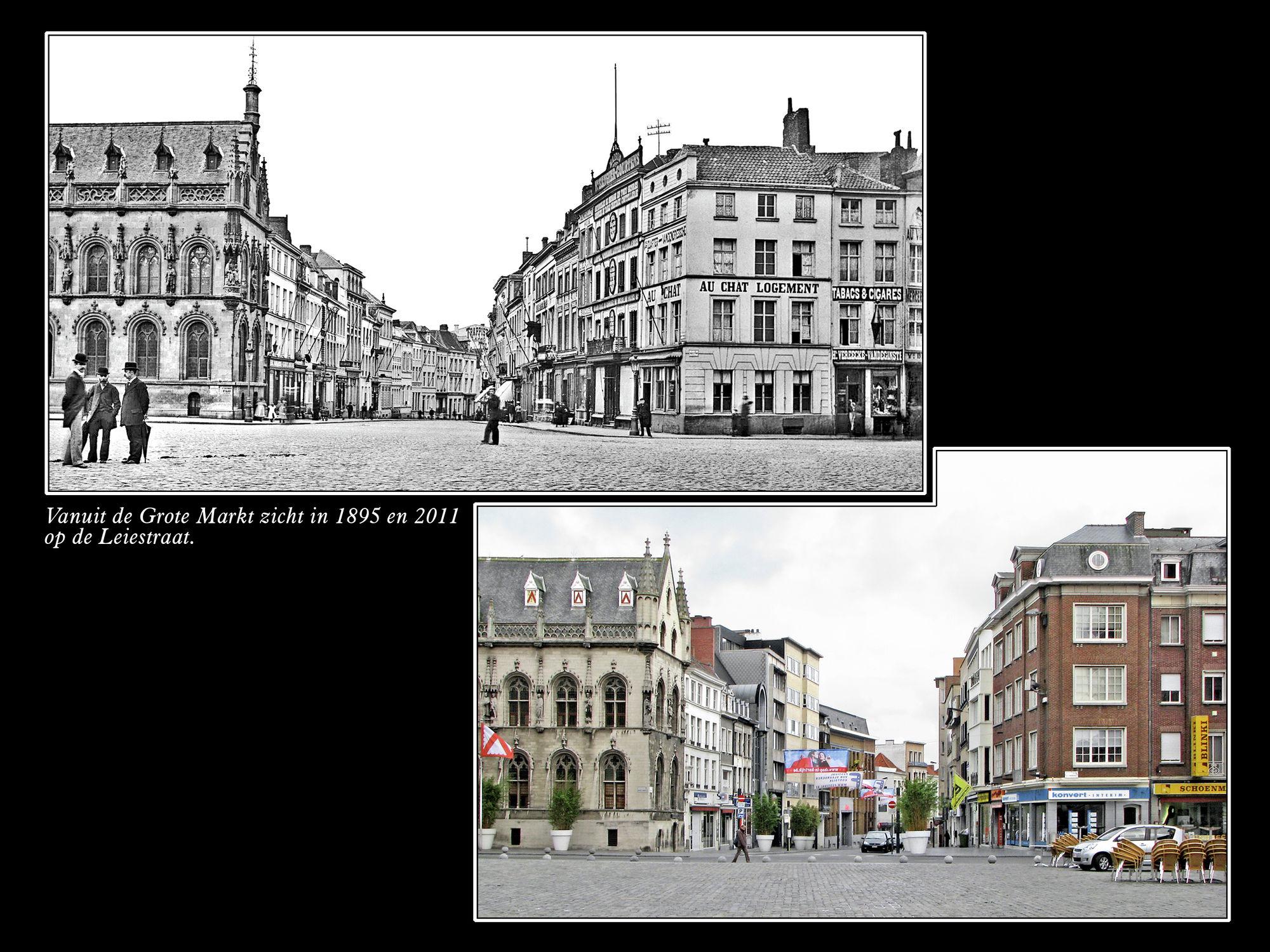 Zicht op de Leiestraat 1895 en 2011