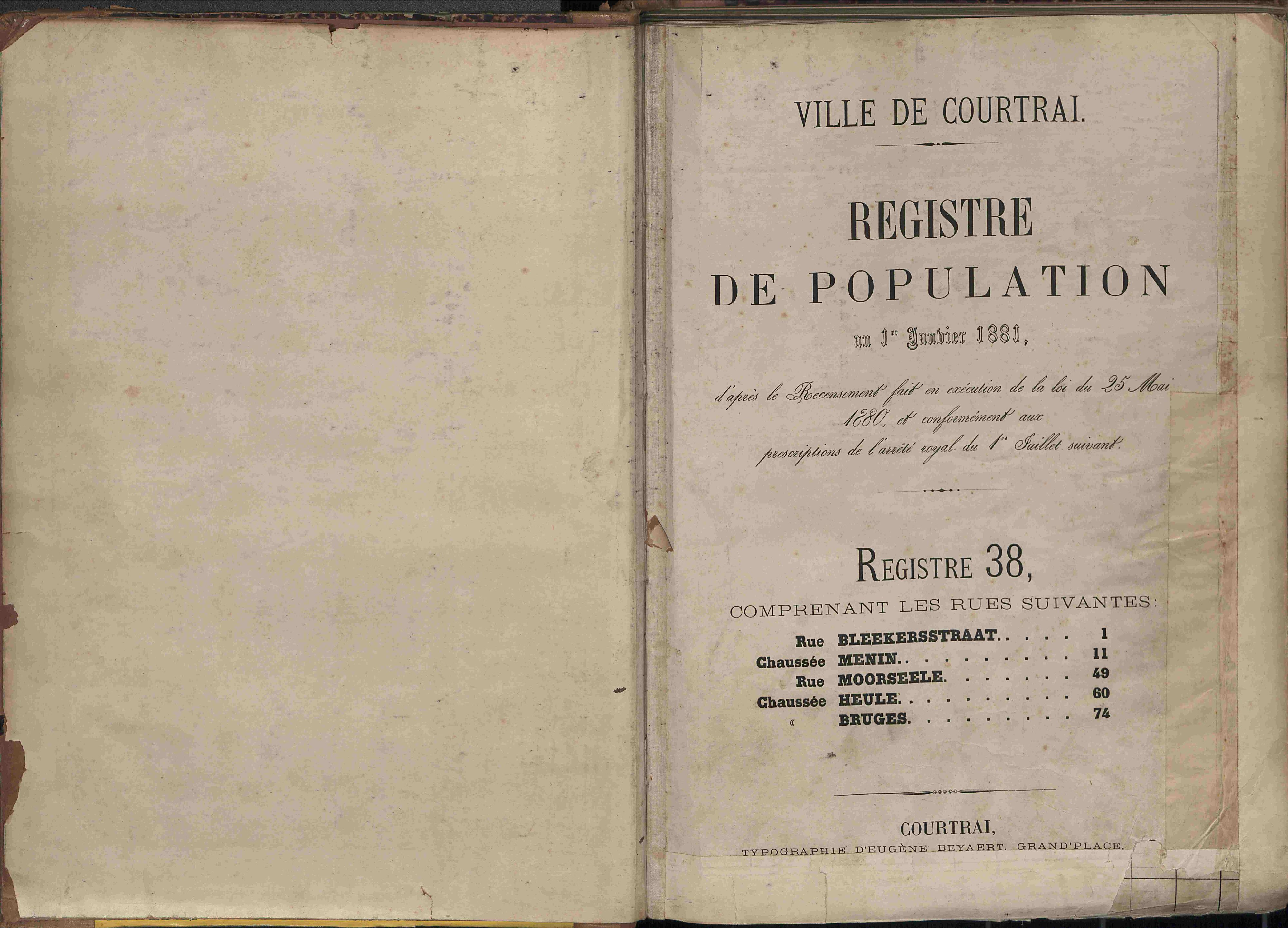 Bevolkingsregister Kortrijk 1880 boek 38