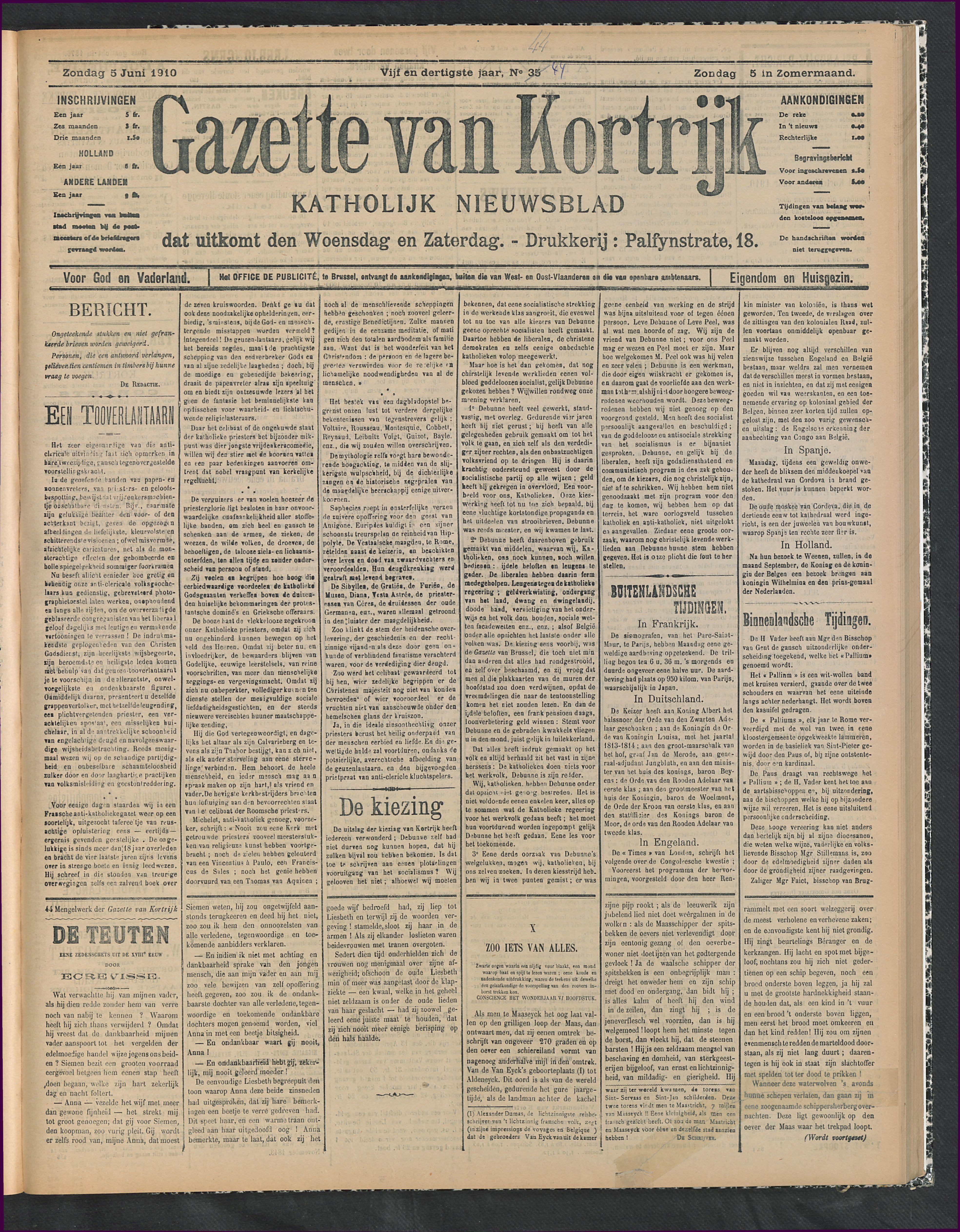 Gazette Van Kortrijk 1910-06-05 p1