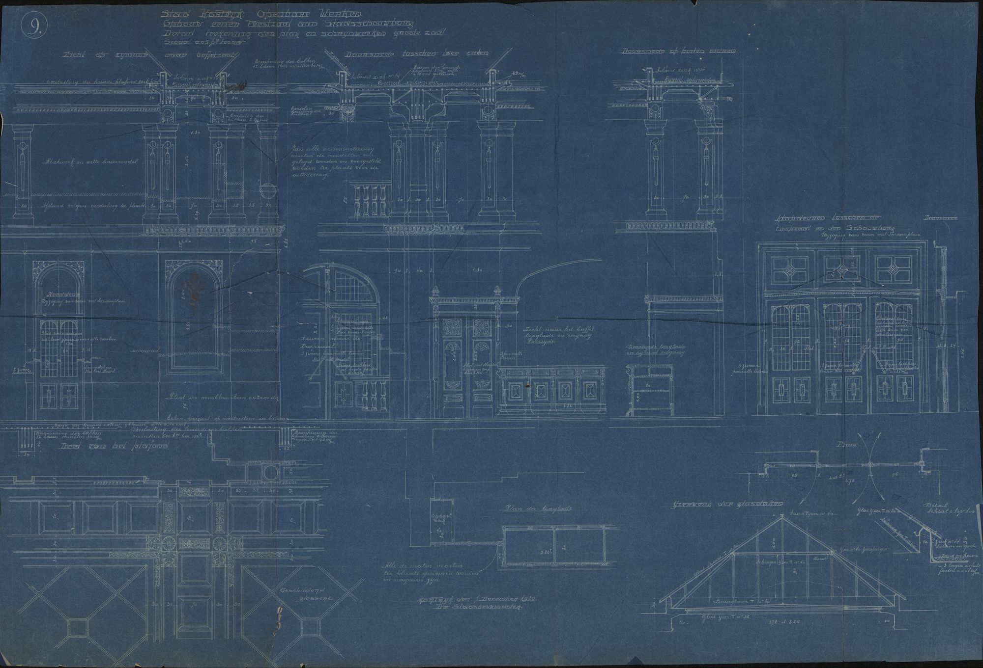 Bouwplannen van de verbouwing van de stadsschouwburg te Kortrijk, 1924-1930