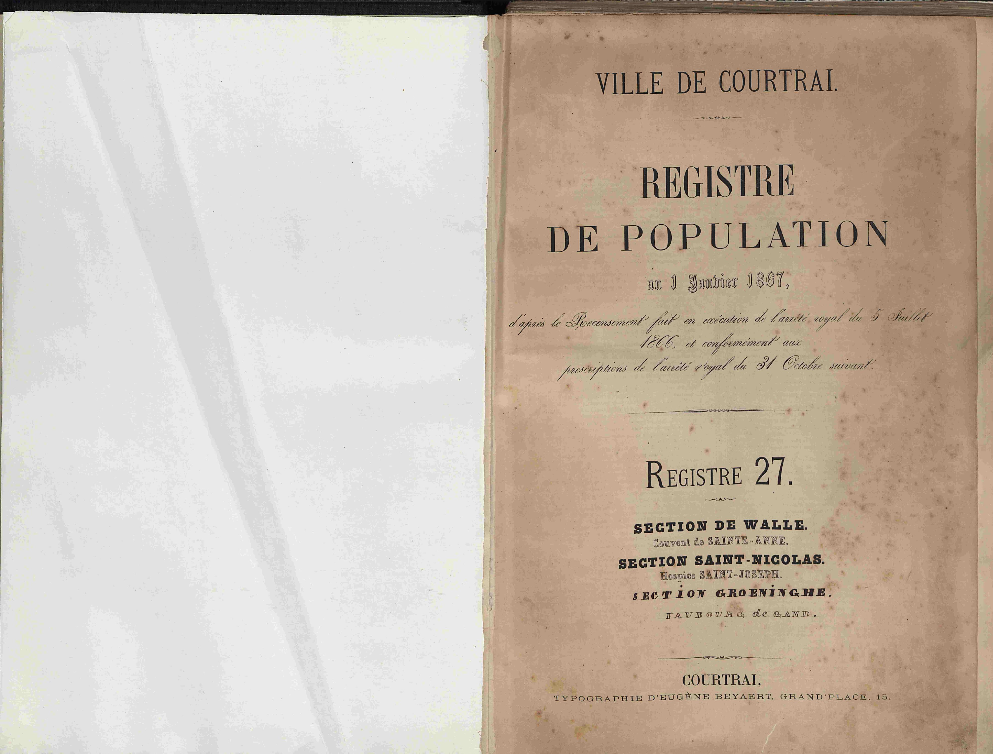 Bevolkingsregister Kortrijk 1866 boek 27
