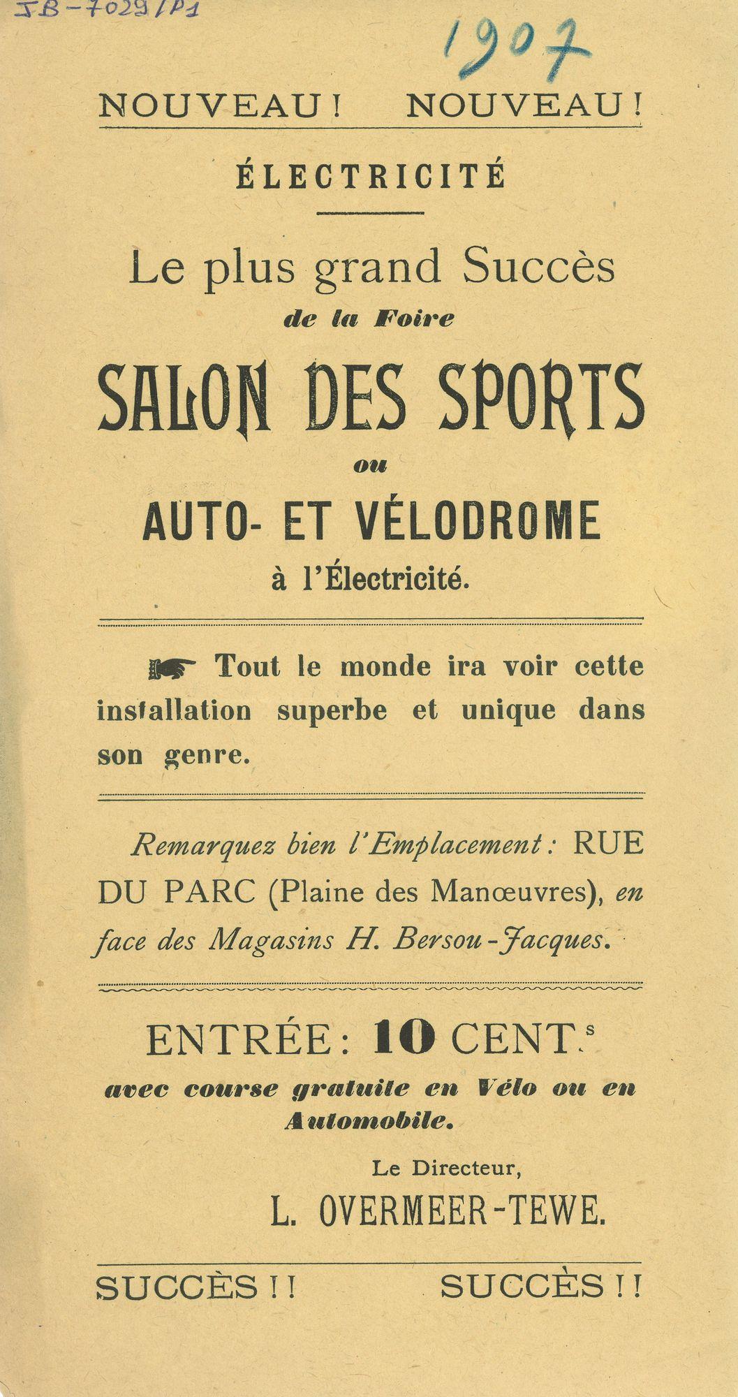 Paasfoor 1907: Salon des Sports L. Overmeer-Tewe