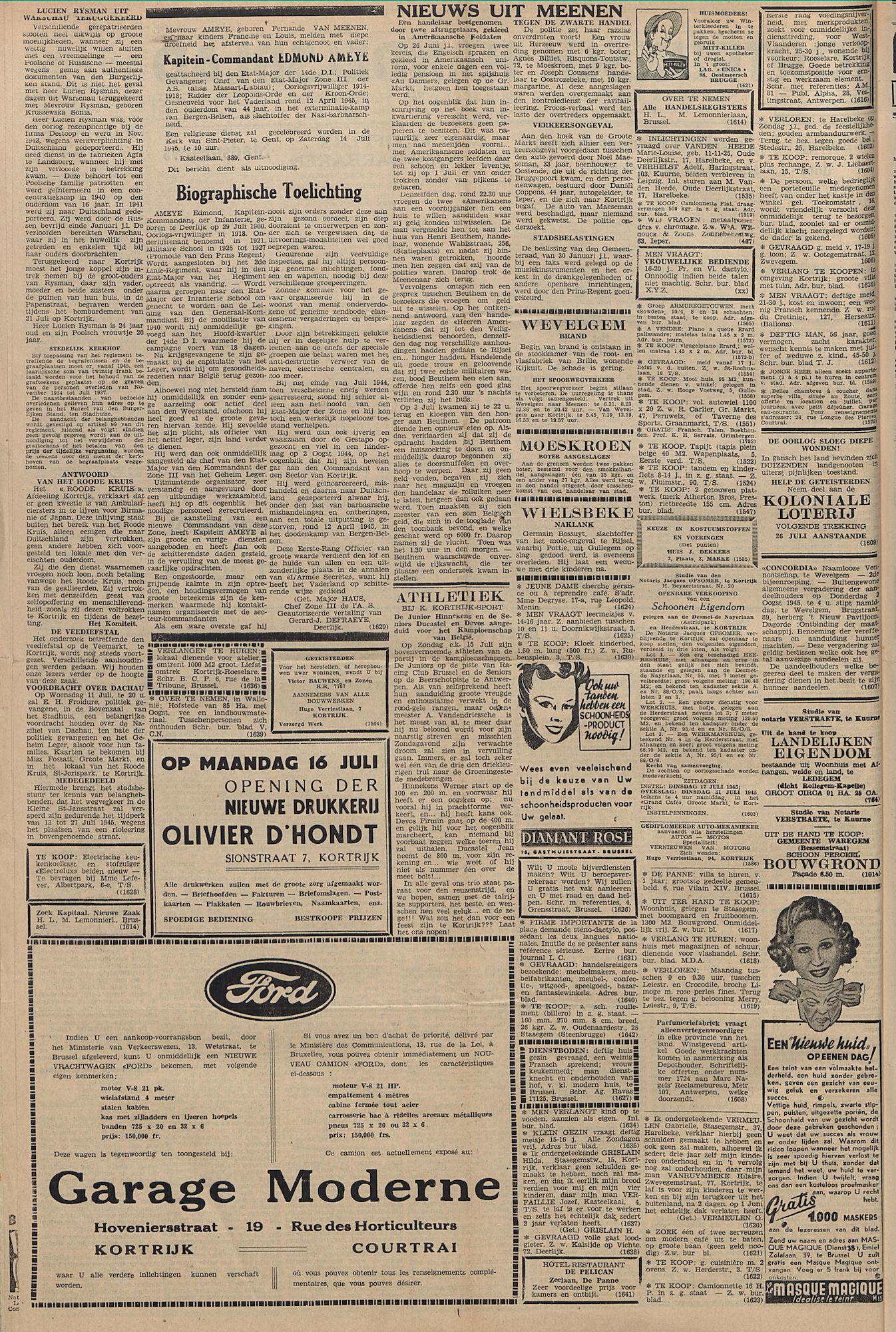 Kortrijksch Handelsblad 11 juli 1945 Nr55 p2