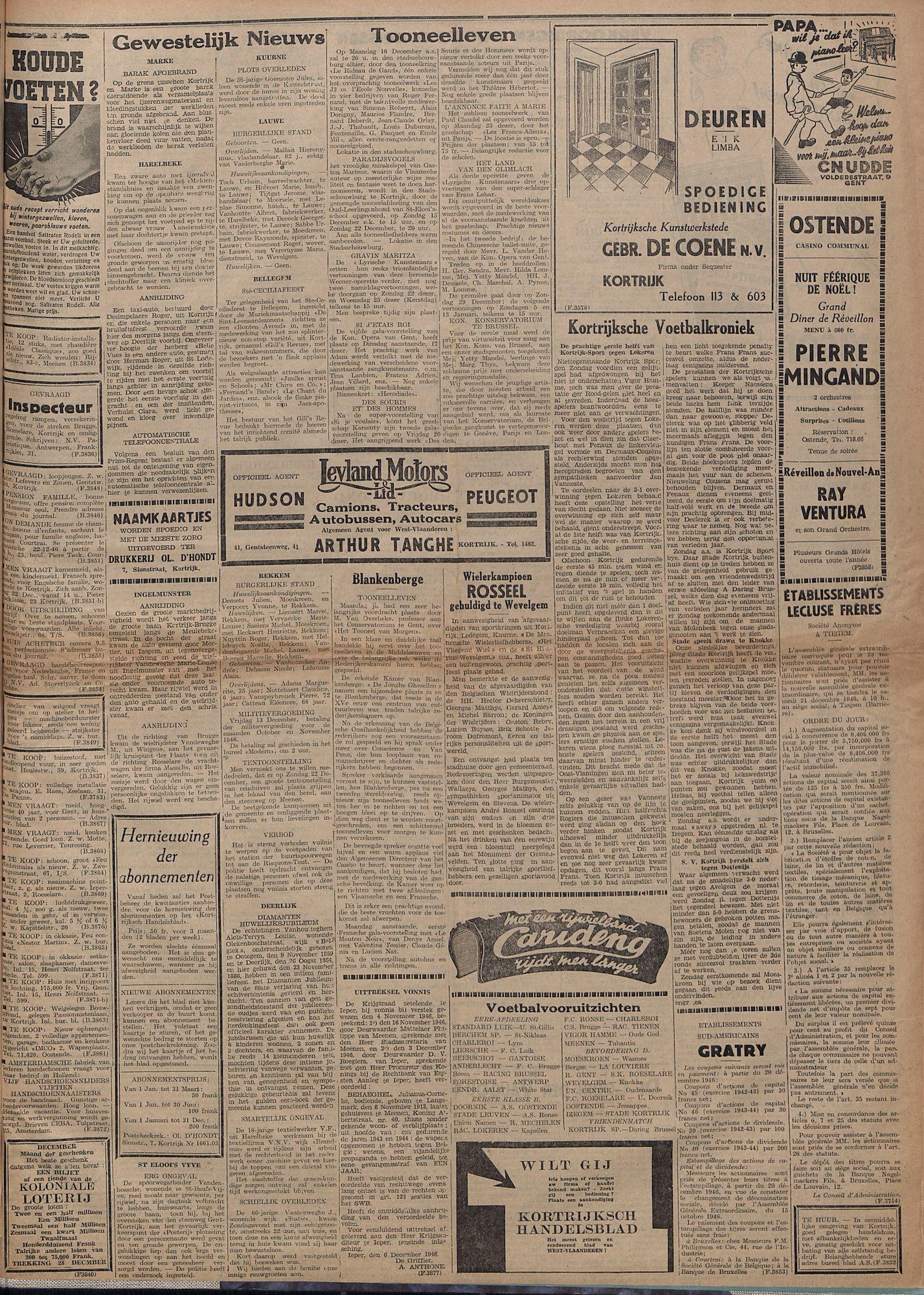Kortrijksch Handelsblad 13 december 1946 Nr100 p3