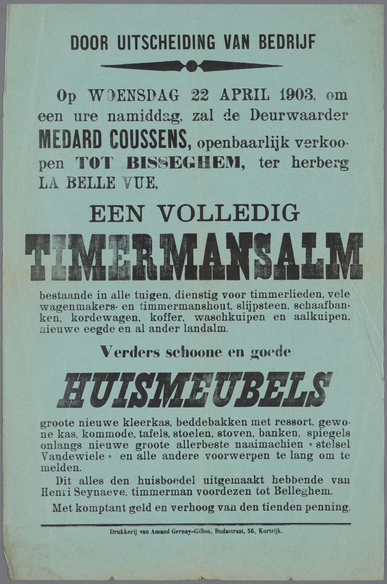 Verkoop te Bissegem 1903