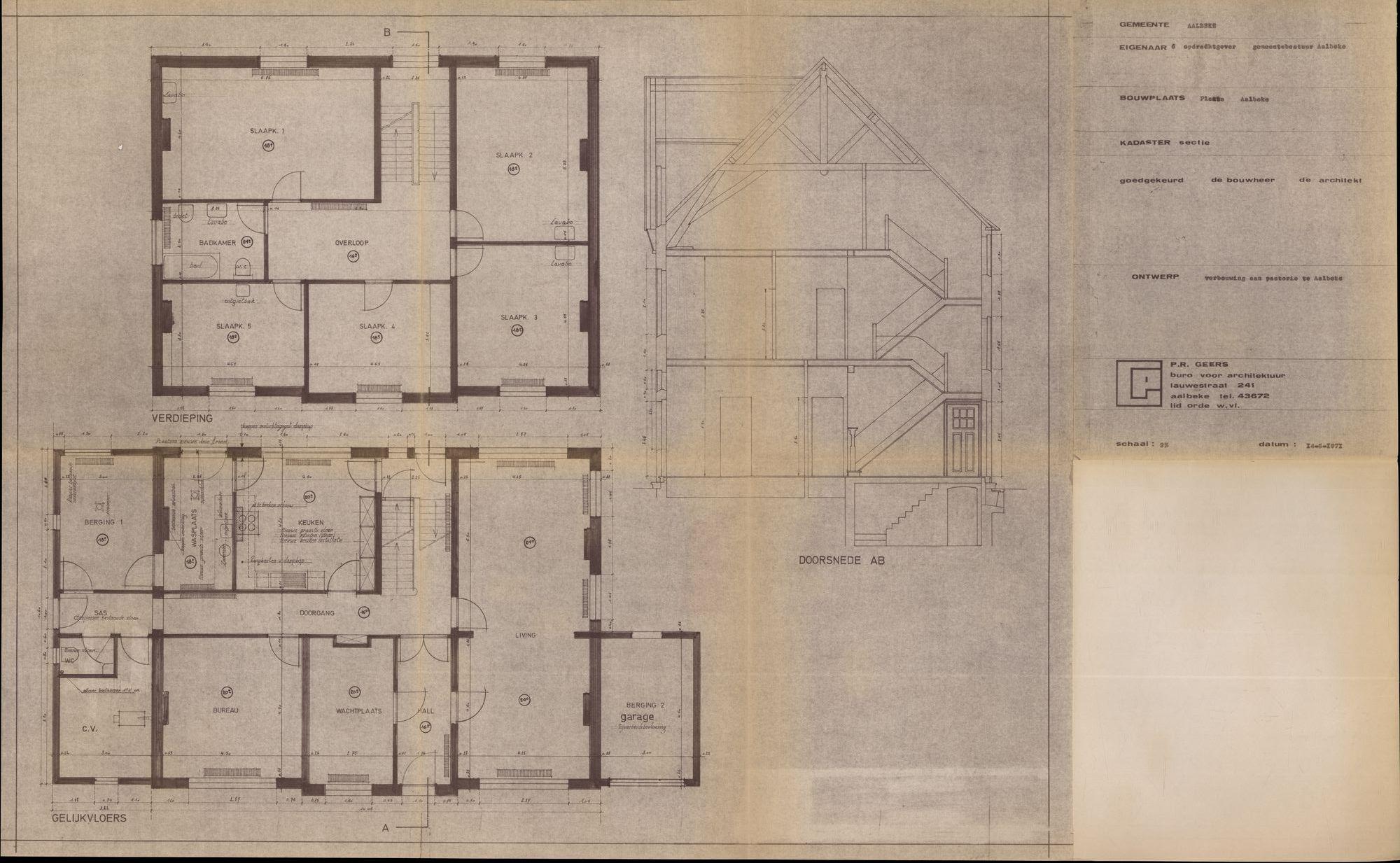 Bouwplannen voor de verbouwing van de pastorie te Aalbeke, 1971