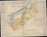 Plattegrond met ontwerp om door de percelen gelegen tussen de wallen en het Hagestraatje ten zuiden van de Magdalenastraat, een straat te trekken, te Kortrijk, naar een kaart van Cornelius Steur uit 1759, 1822