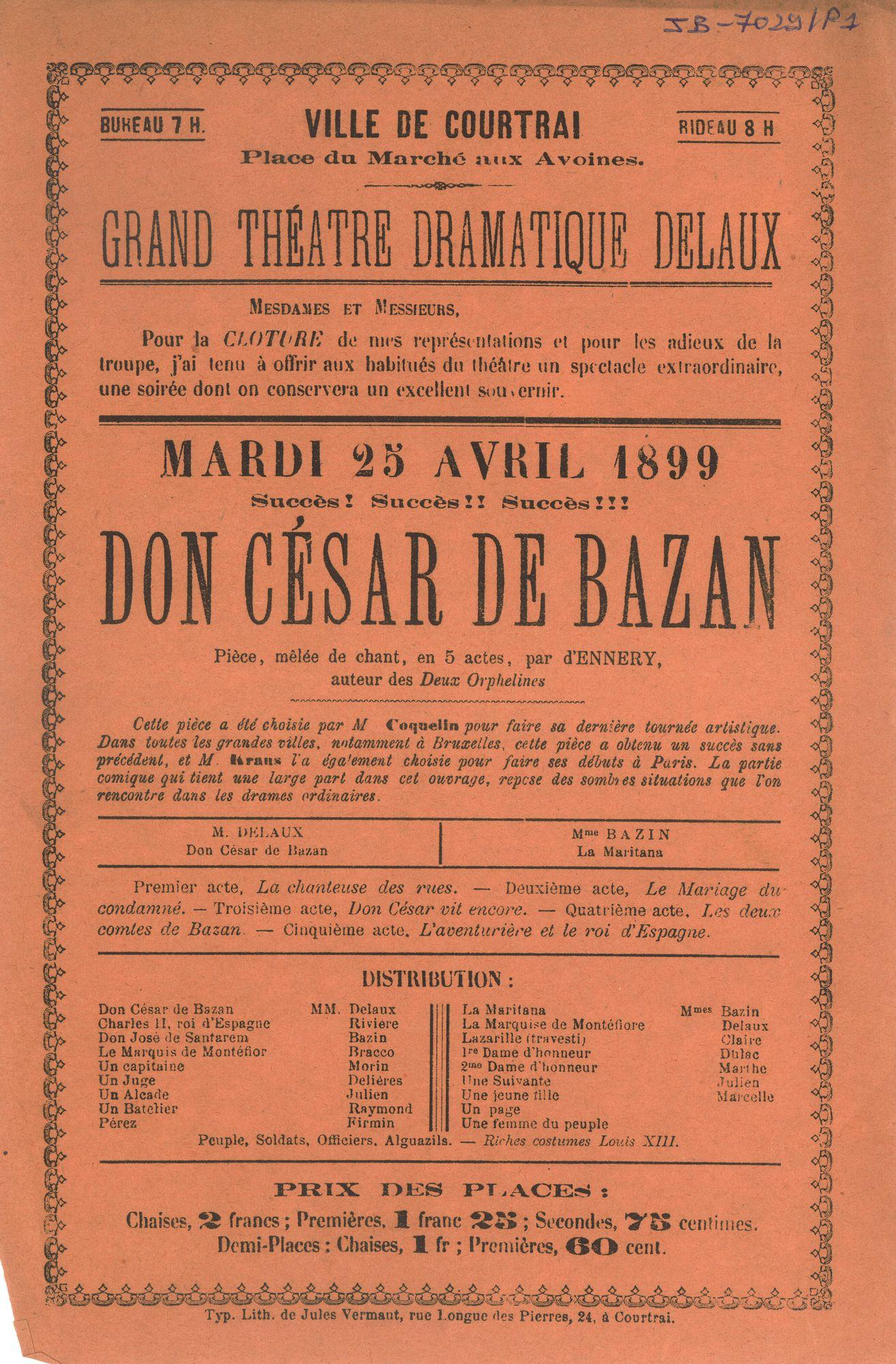 """Paasfoor 1899: opvoering van """"Don César de Bazan"""""""